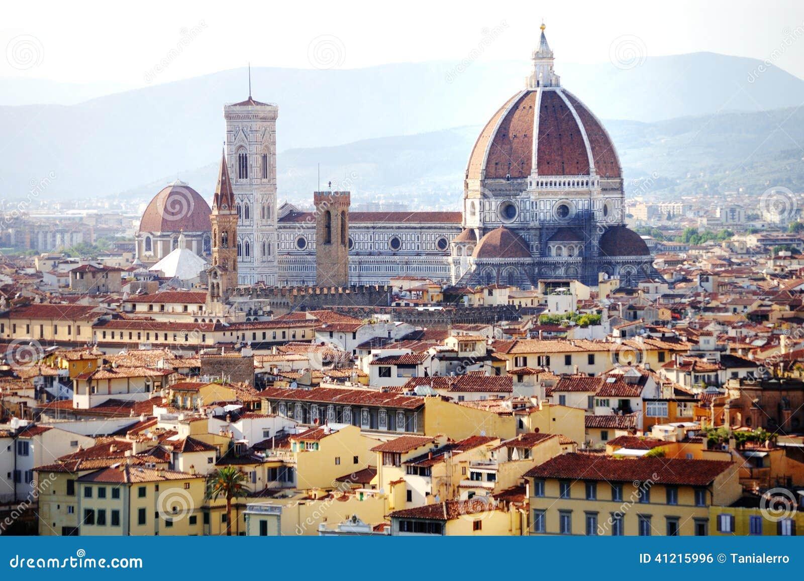 Florence domkyrkapanoramautsikt, Firenze, Tuscany, Italien