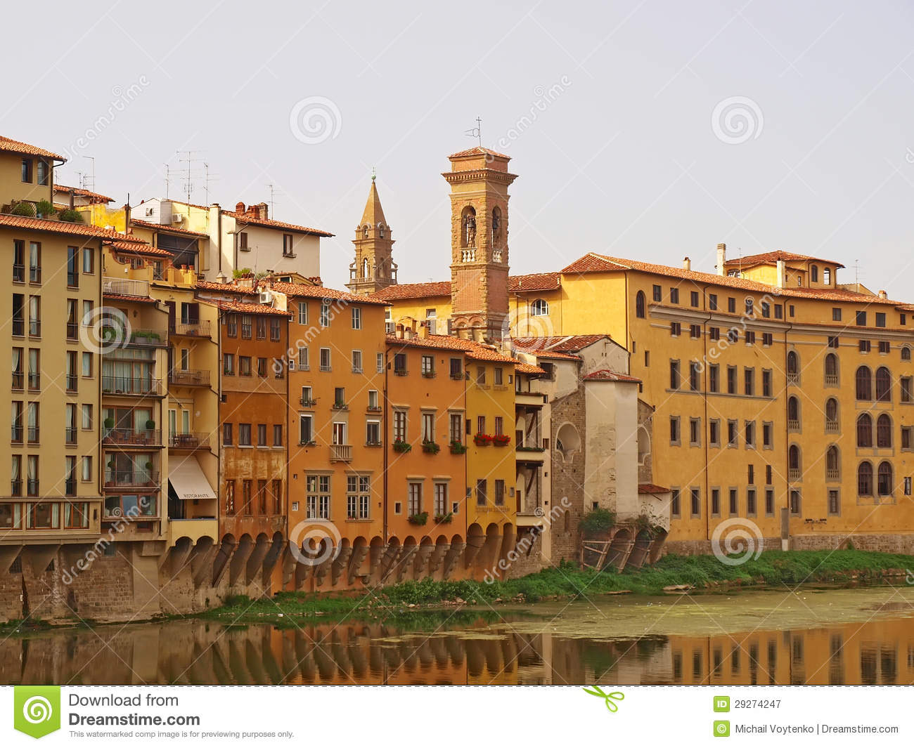 Florence Houses Along The River Arno Royalty Free Stock