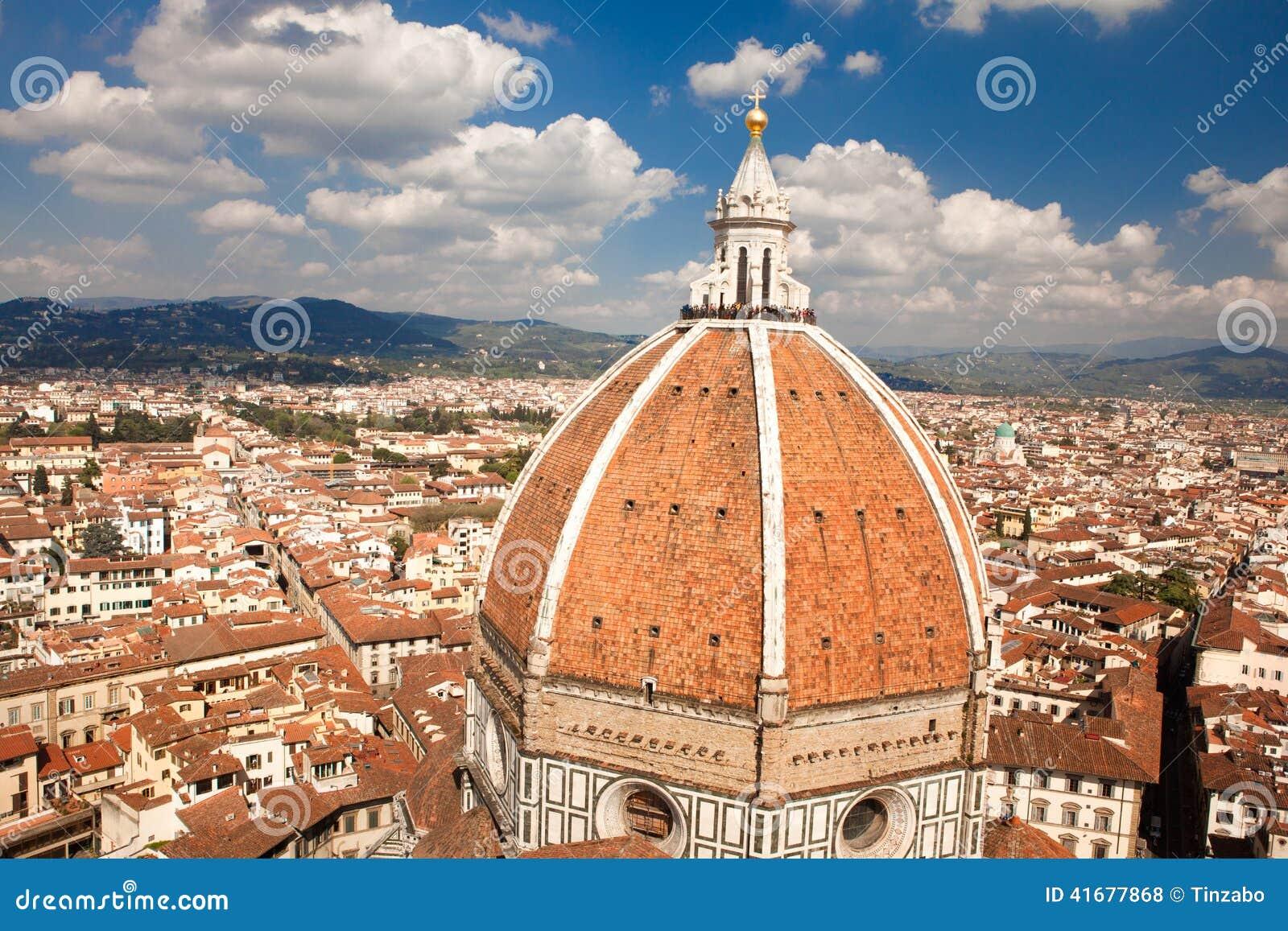 Florence, Italië, Florence, Italië, Florence Cathedral, Brunnaleski-koepel, cityscape de koepel van Fr Brunnaleski, cityscape van