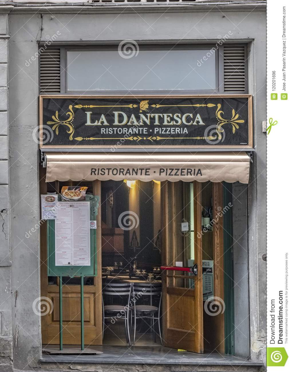 Famous Pizzeria Typical Italian Restaurant Located On The Street Called Via Panzani Still Empty Editorial Photo Image Of Cook Facade 120201696