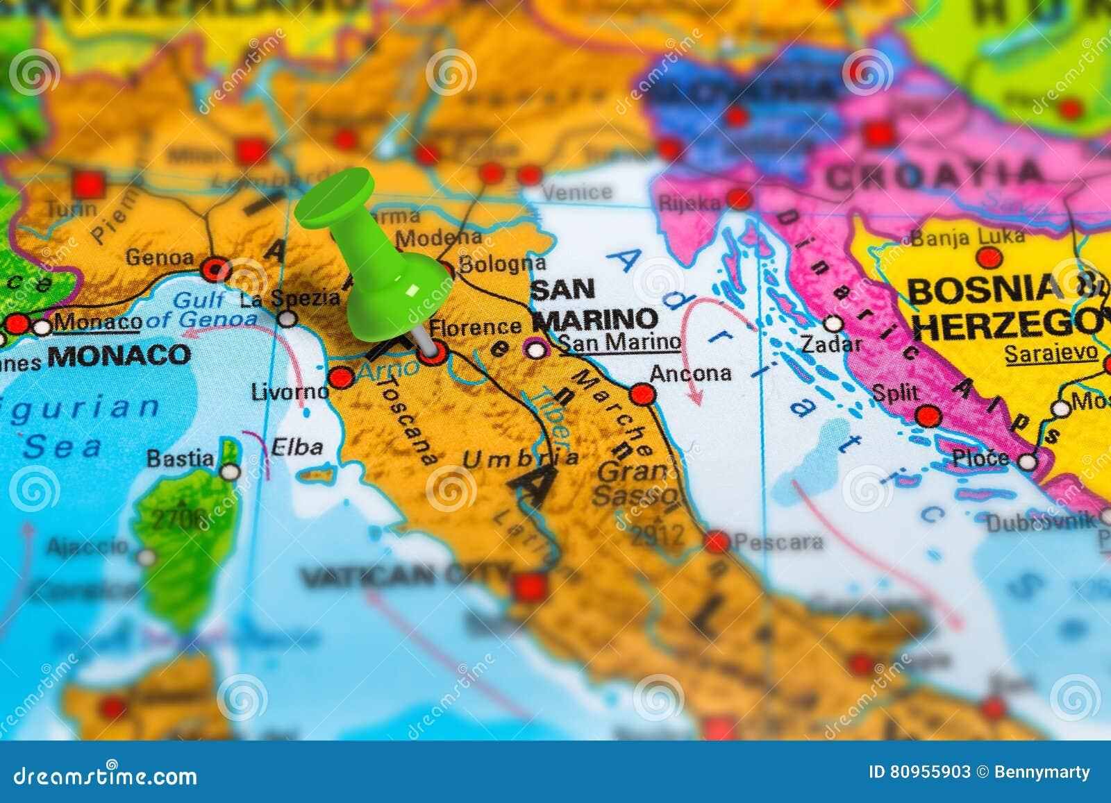 Florence Italy Map Stock Image Image Of Landmark Closeup 80955903