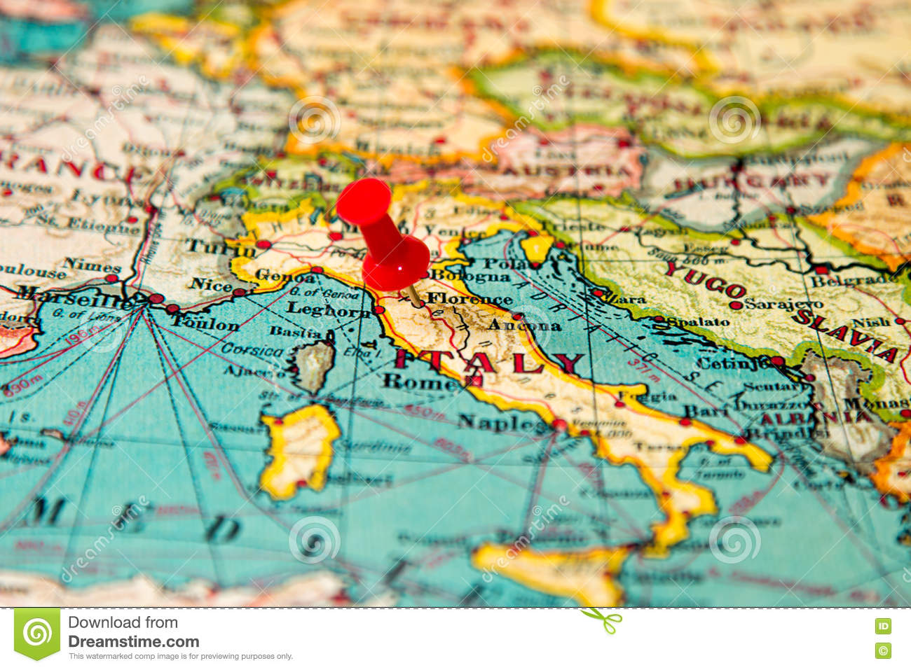 Florence, Italy Pinned On Vintage Map Of Europe Stock Photo - Image ...