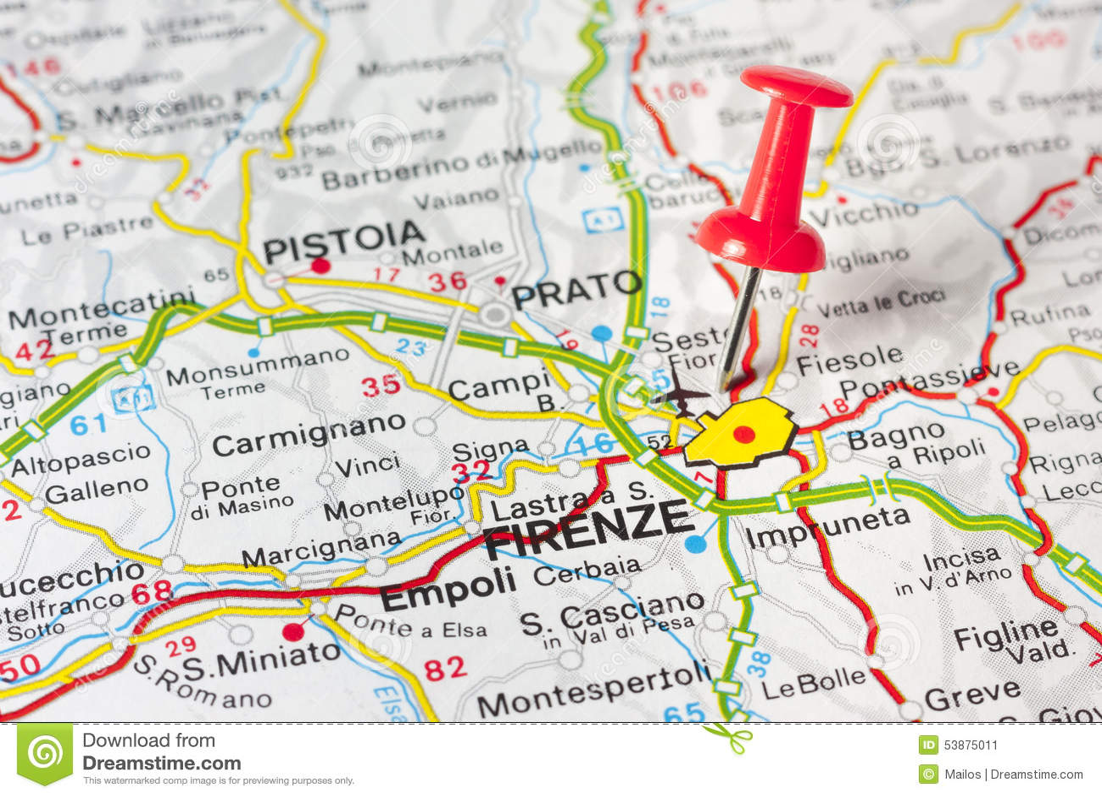 Florence On A Map Stock Image Image Of Vintage Destination 53875011