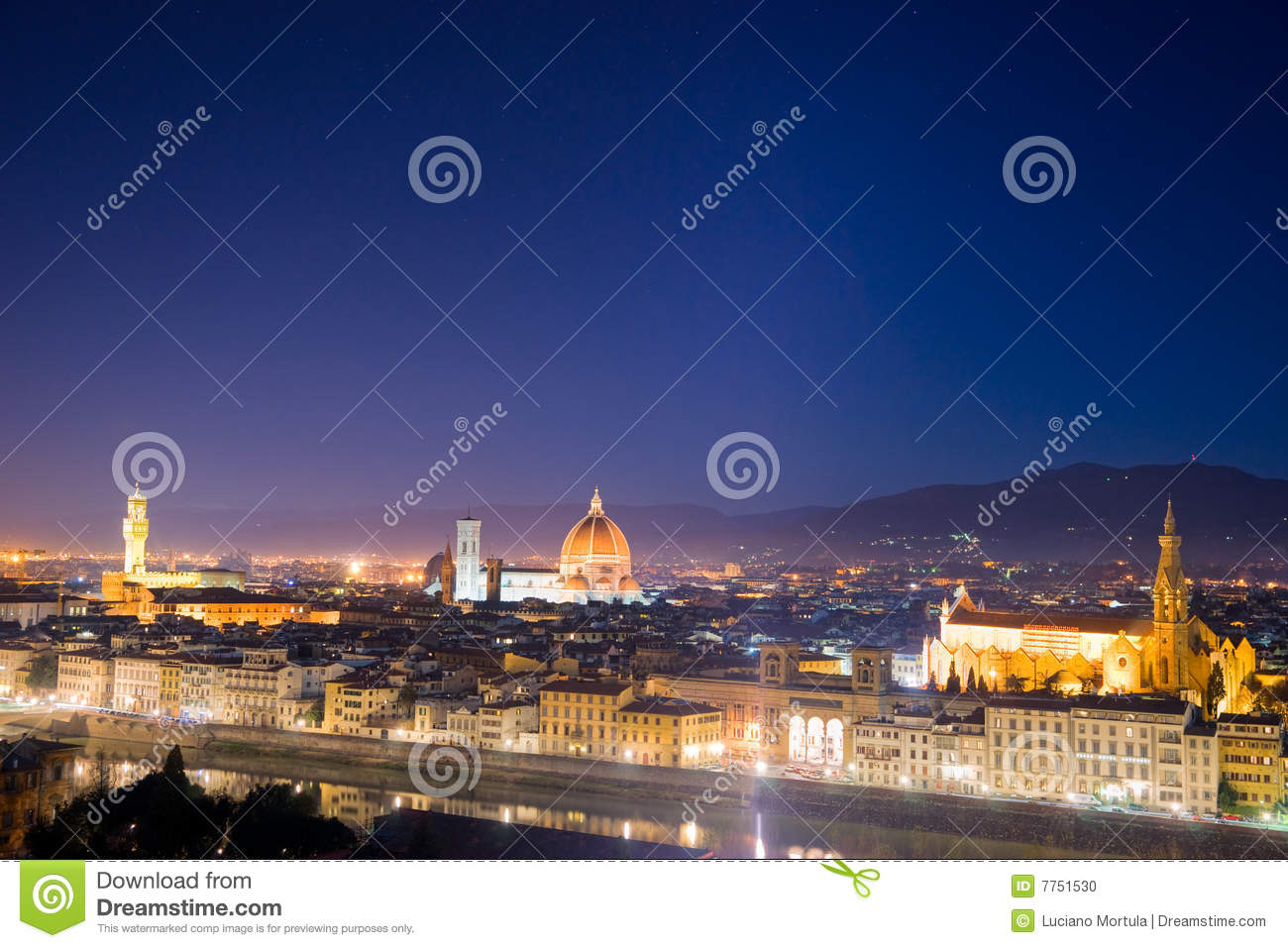Italian Florence: Florence, Night View From Piazzale Michelangelo. Stock