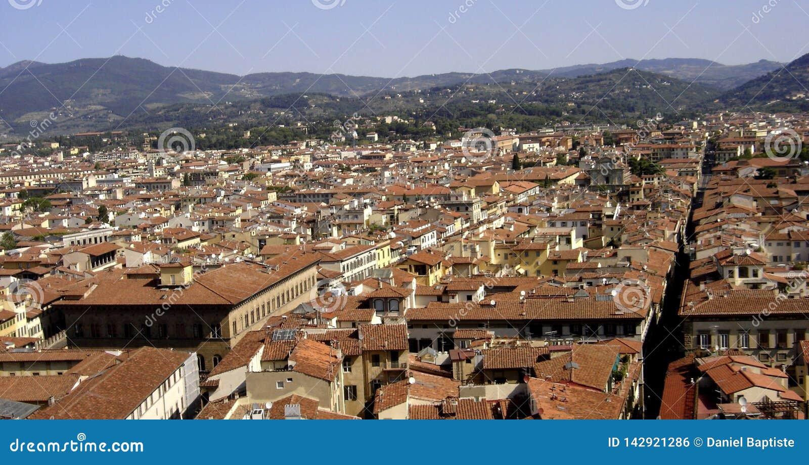 Florence panoramautsikt av staden av florence, tuscany, Italien