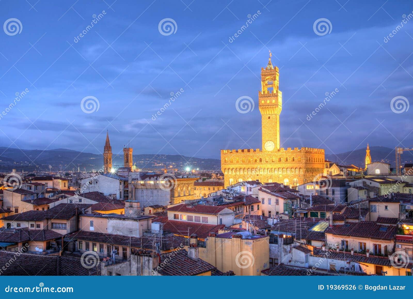Florence Skyline Palazzo Vecchio Italy Royalty Free