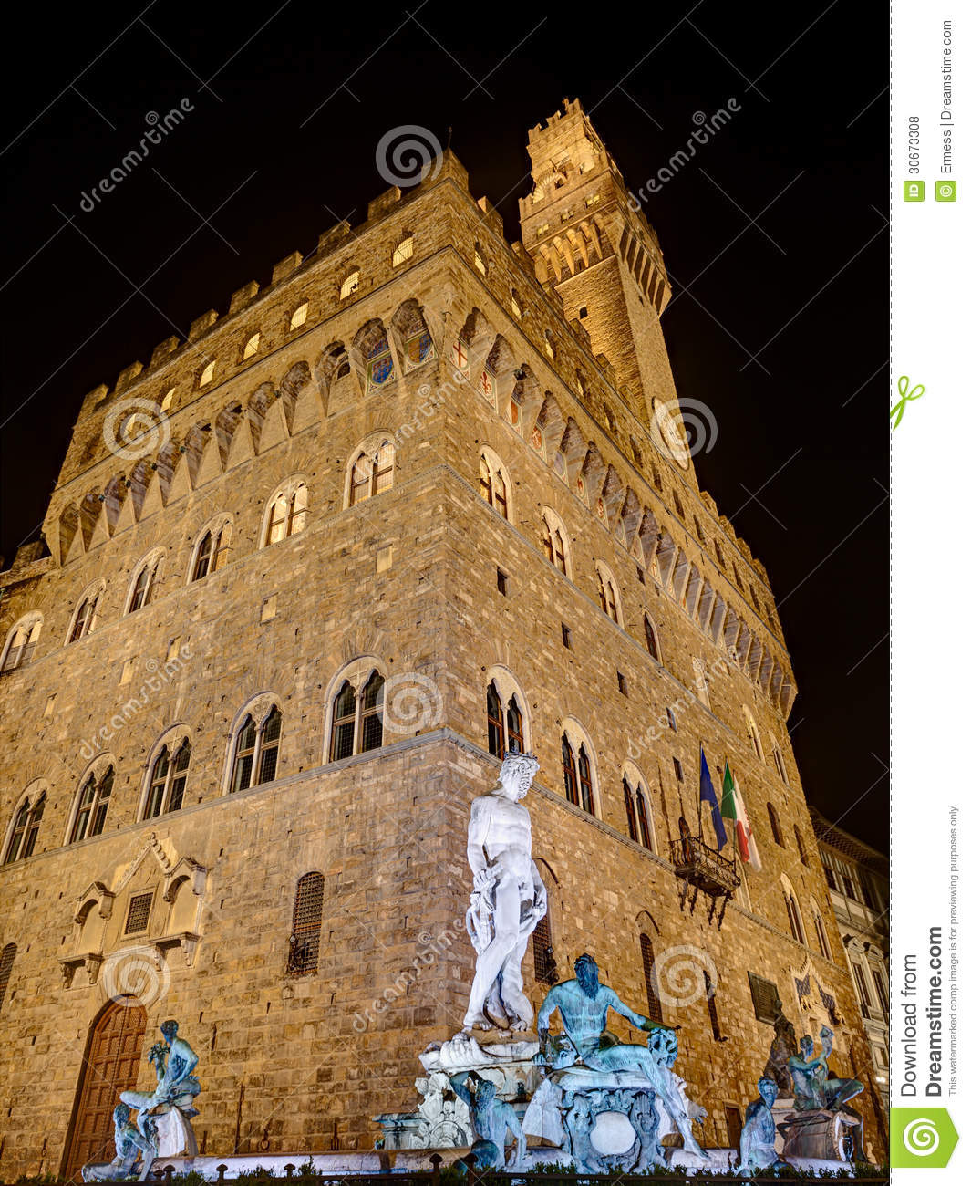 Florence Statue Of Neptune And Palazzo Vecchio Royalty