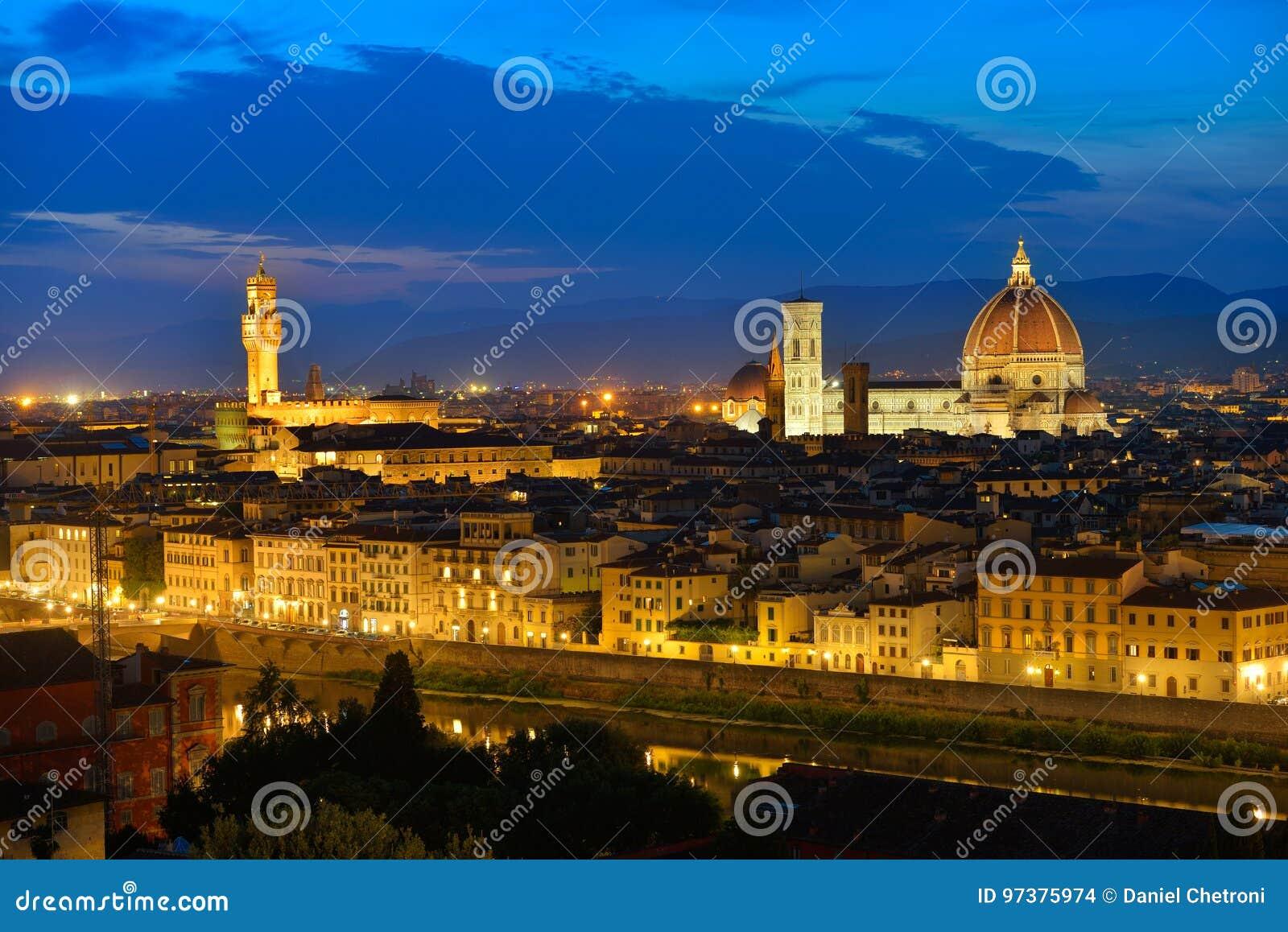 Fior Fiori.Florence Tuscany Night Scenery With Duomo Santa Maria Del Fiori