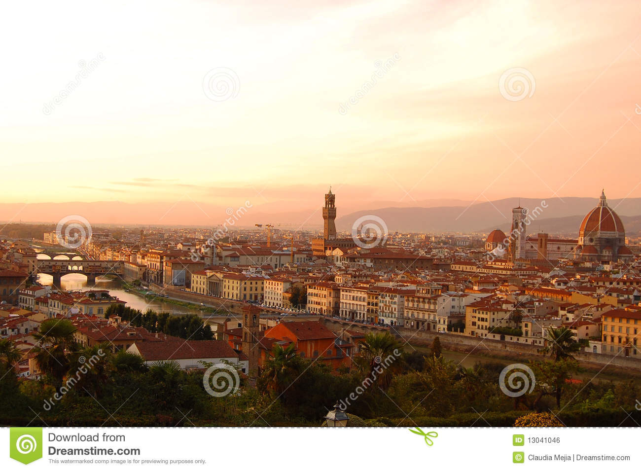 Italian Florence: Florence View From Piazzale Michelangelo Royalty Free
