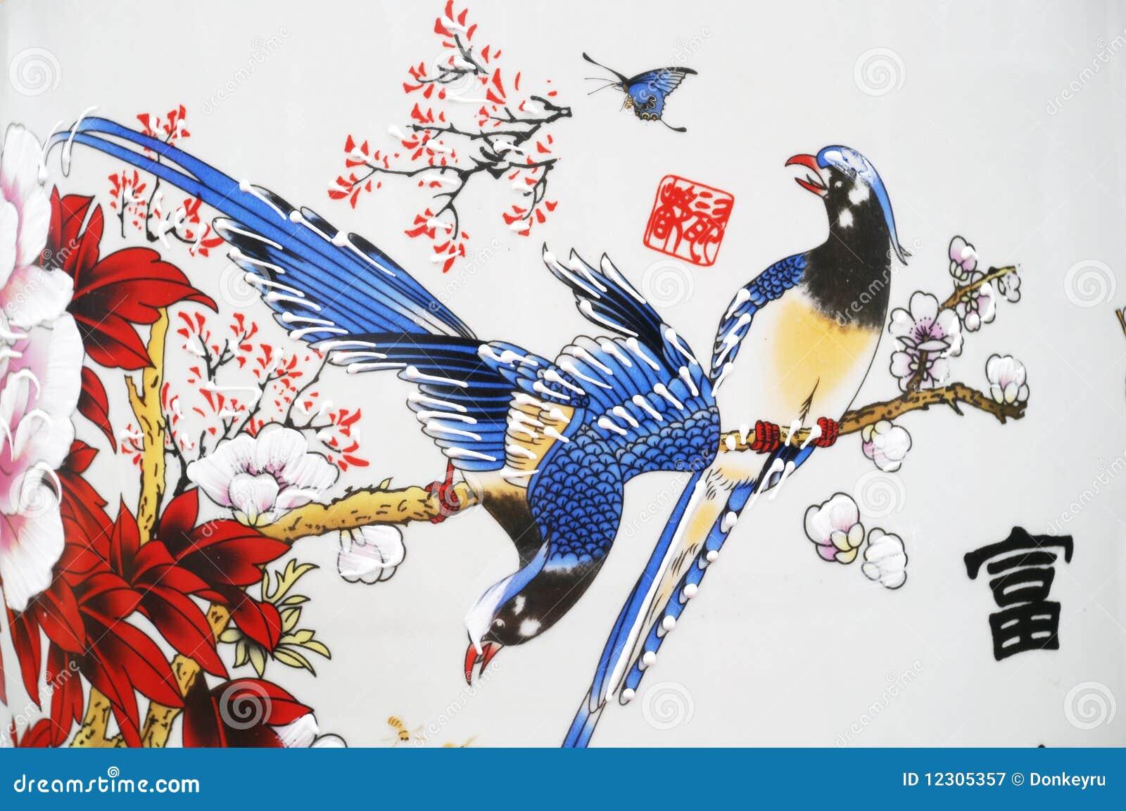 Florero chino pintado de la porcelana