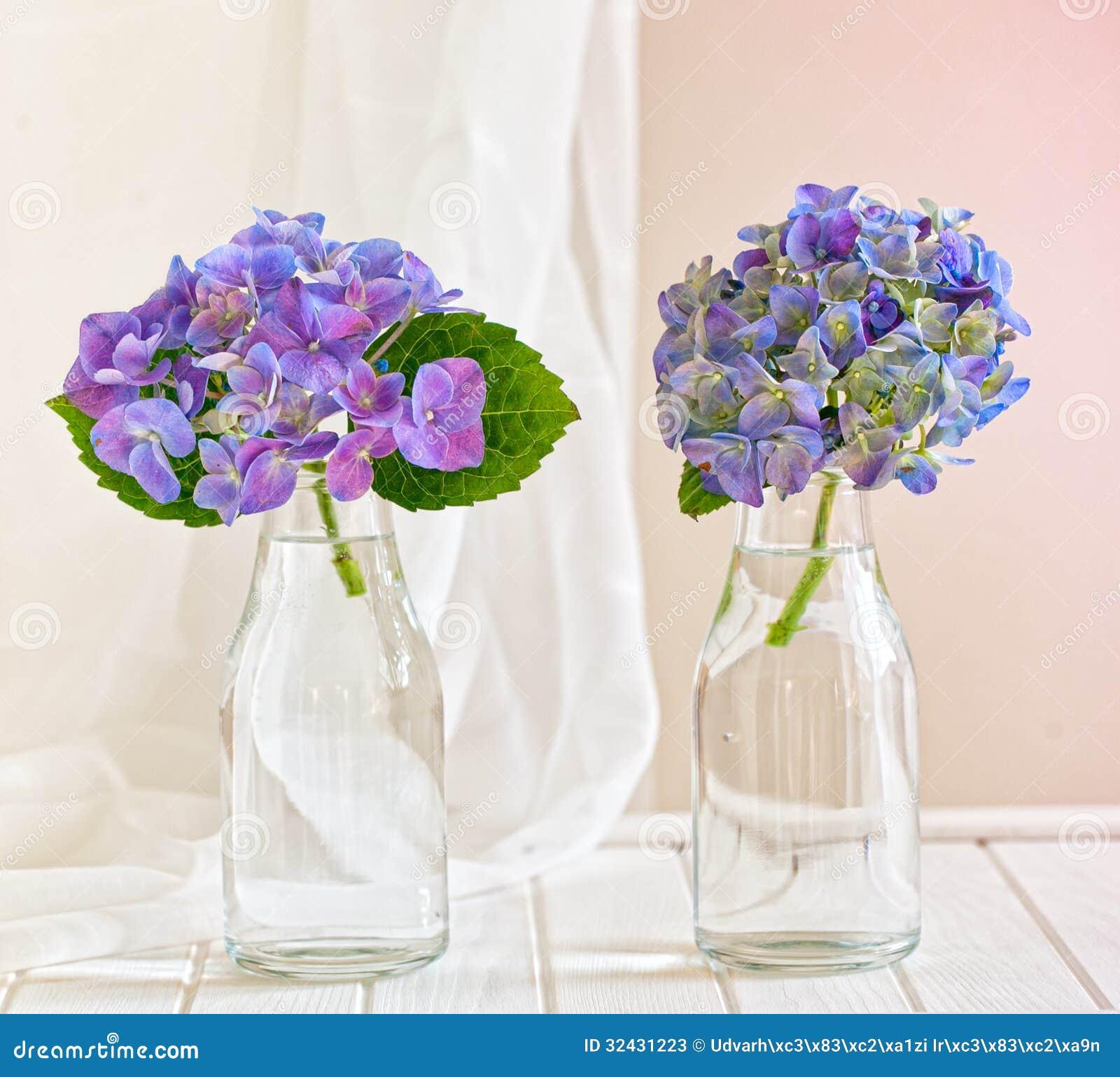 Floreros de cristal con las hortensias azules