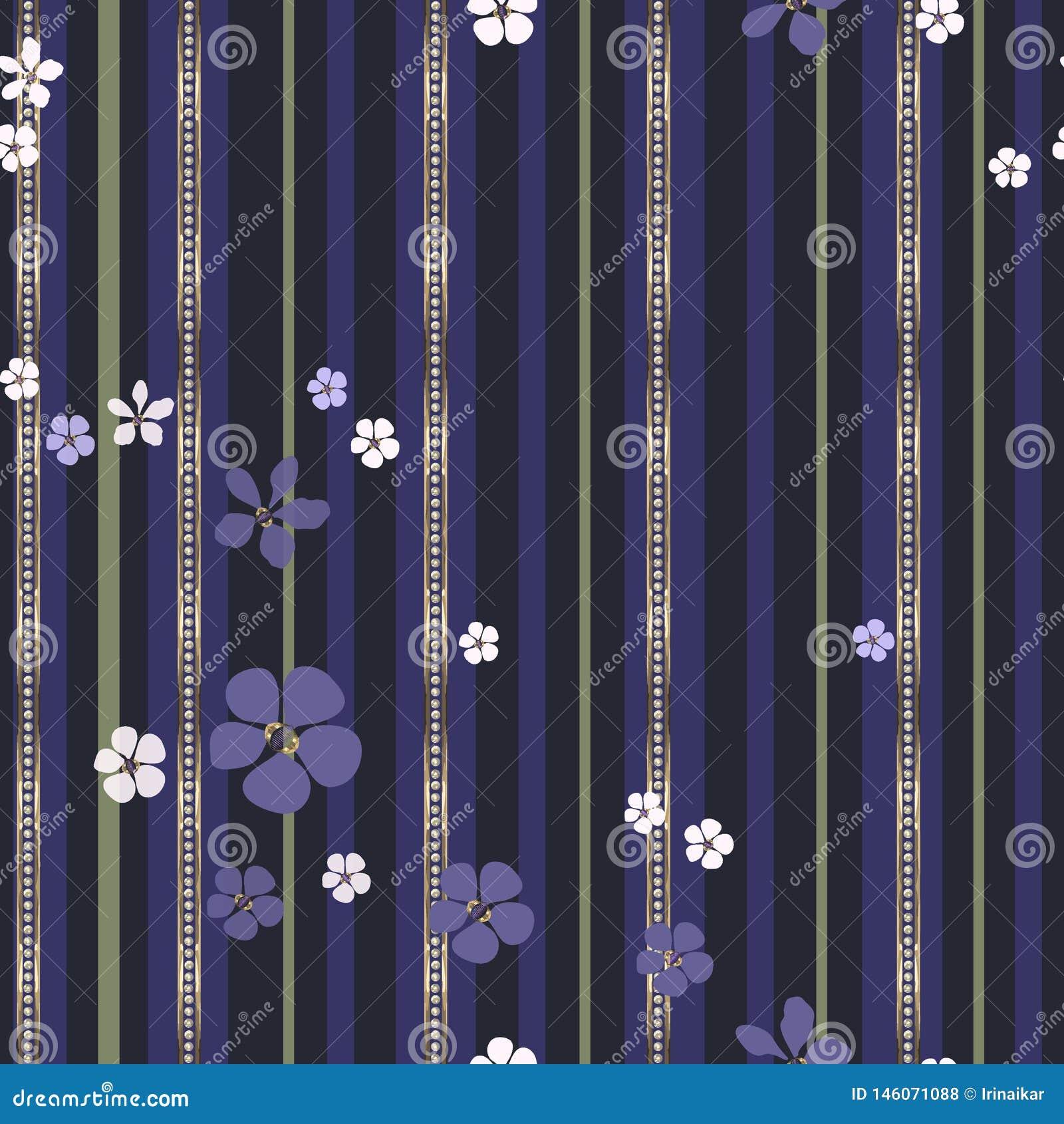 Flores abstractas y tiras blancas y púrpuras del oro con los diamantes