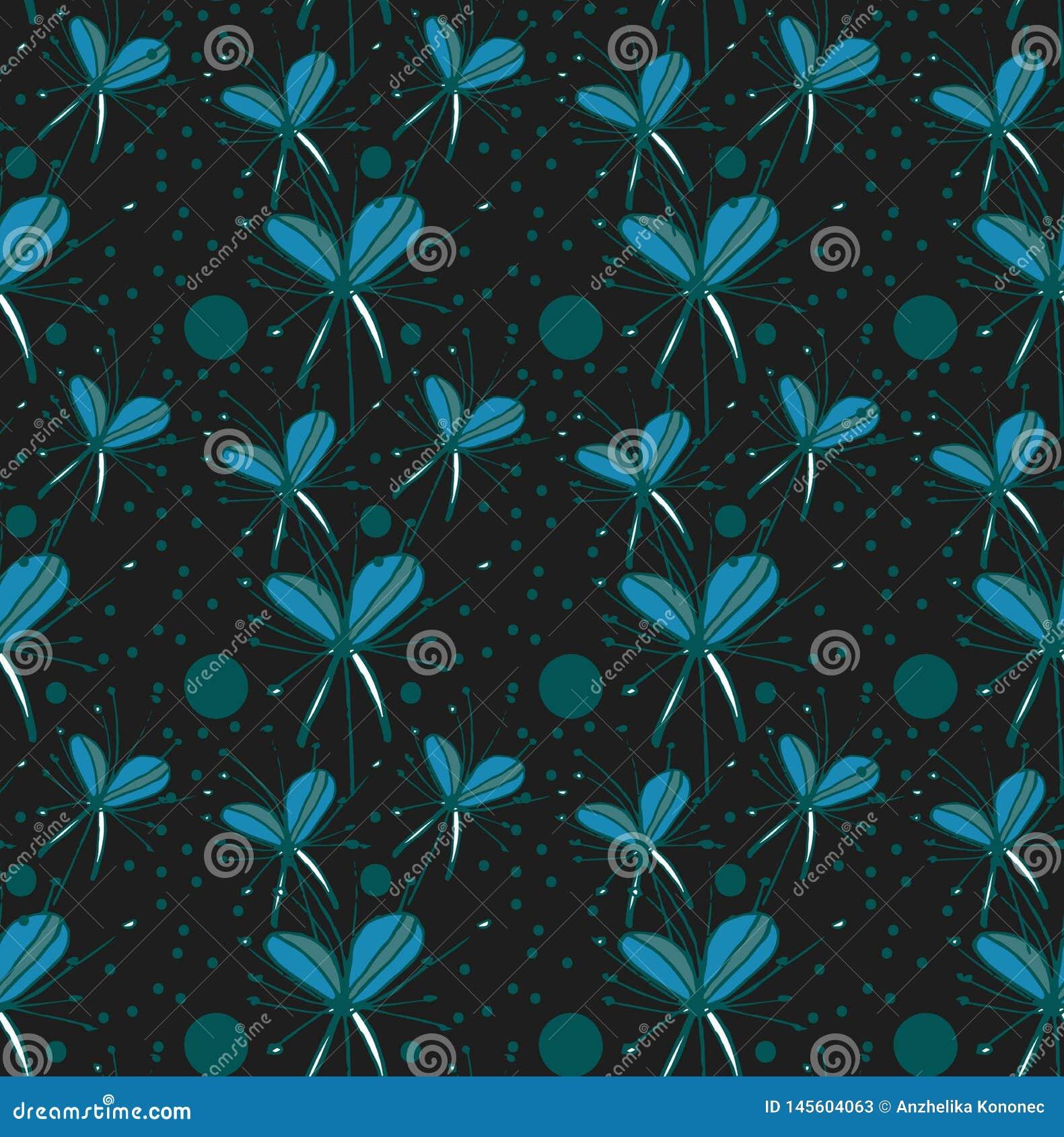 Flores abstratas de turquesa do teste padrão no fundo preto