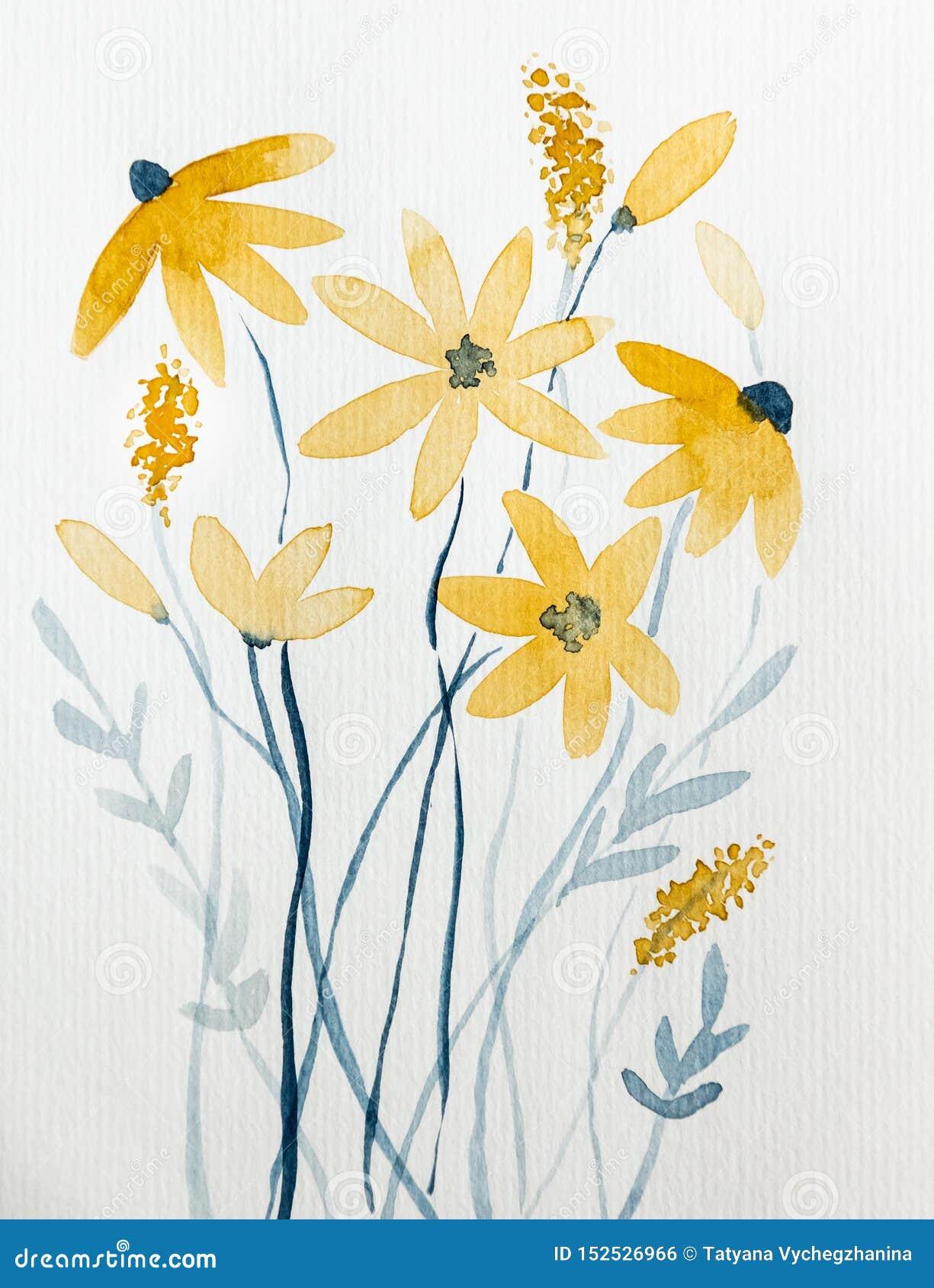 Flores amarillas dibujadas con la acuarela