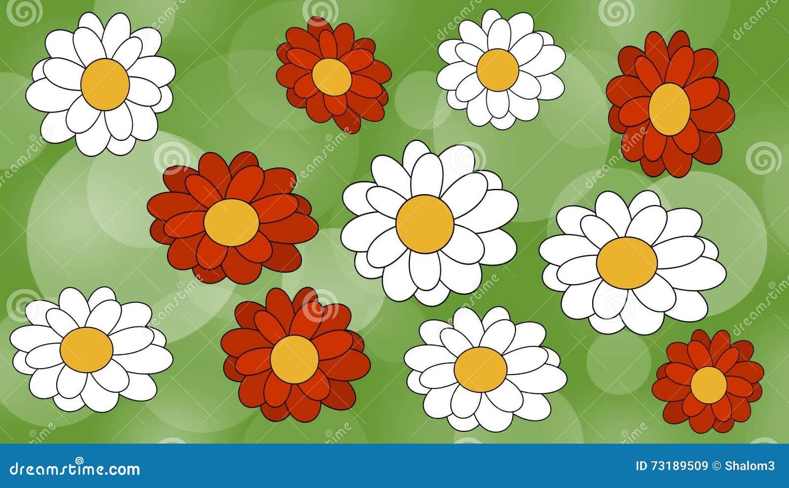 Flores Animadas En Prado Verde Fondo Borroso Verde Del Bokeh Con Las