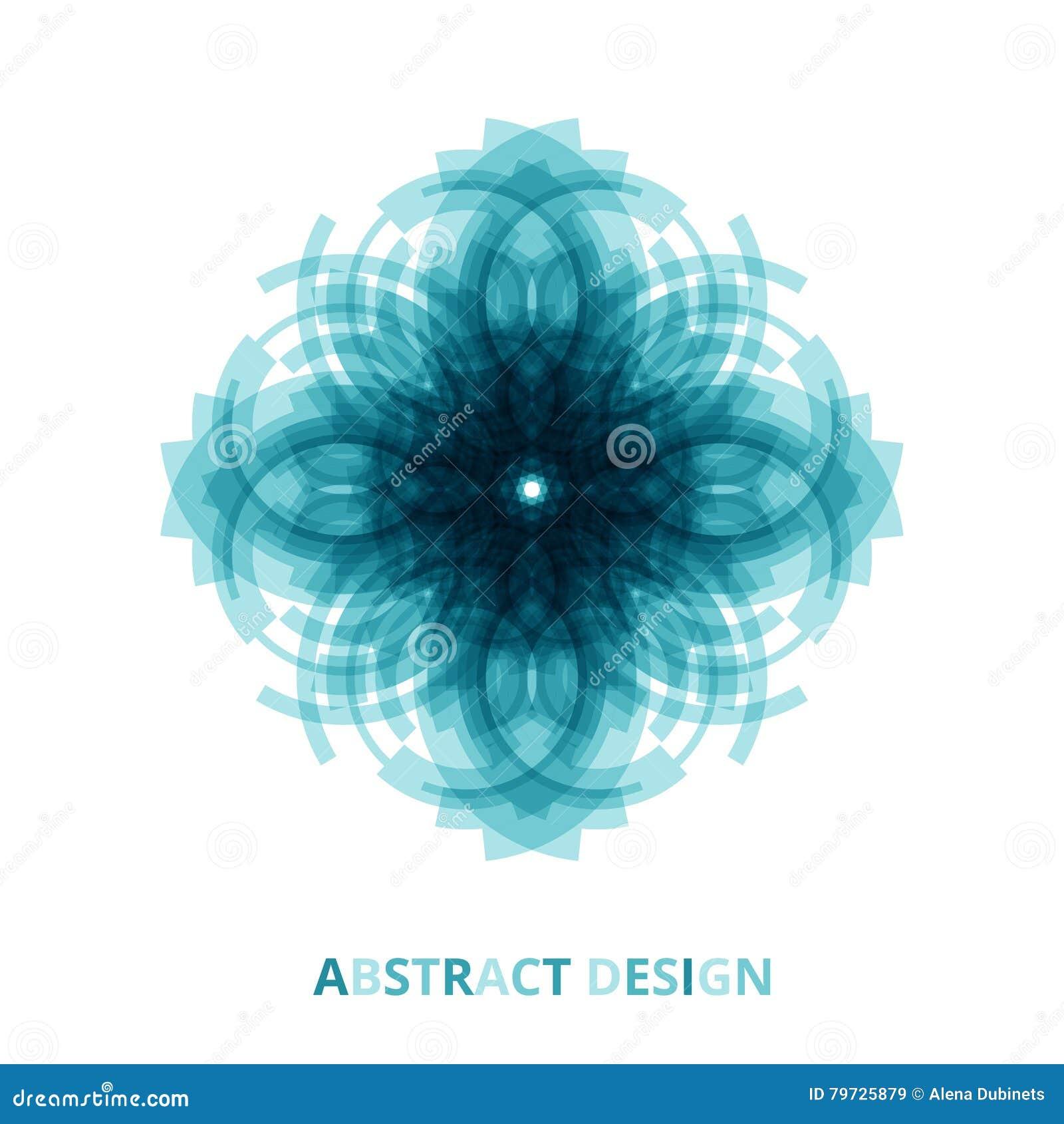 Flores azules brillantes redondas de la mandala tecnológica en fondo aislado Vector