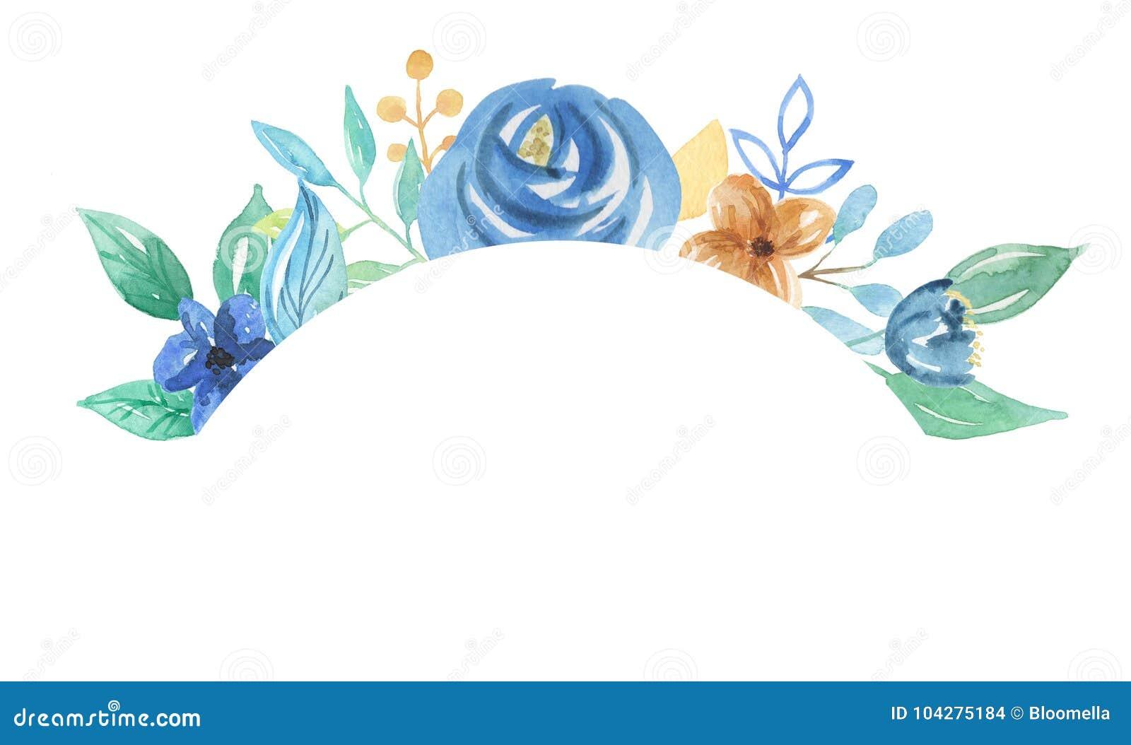 Flores Azules De La Boda Del Marco De Las Hojas De Las