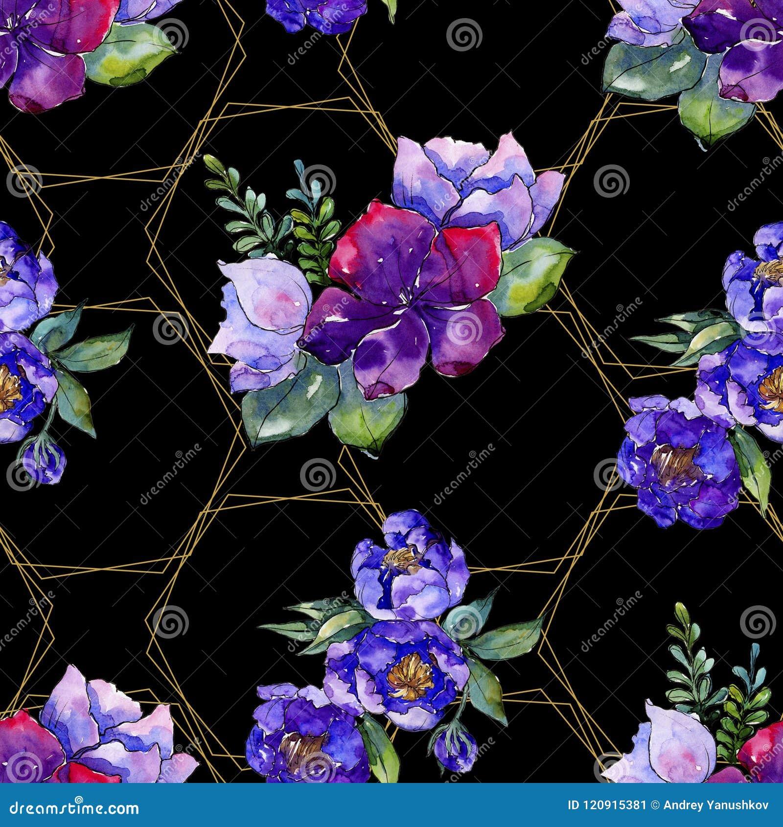 Flores azules del ramo Flor botánica floral Modelo inconsútil del fondo