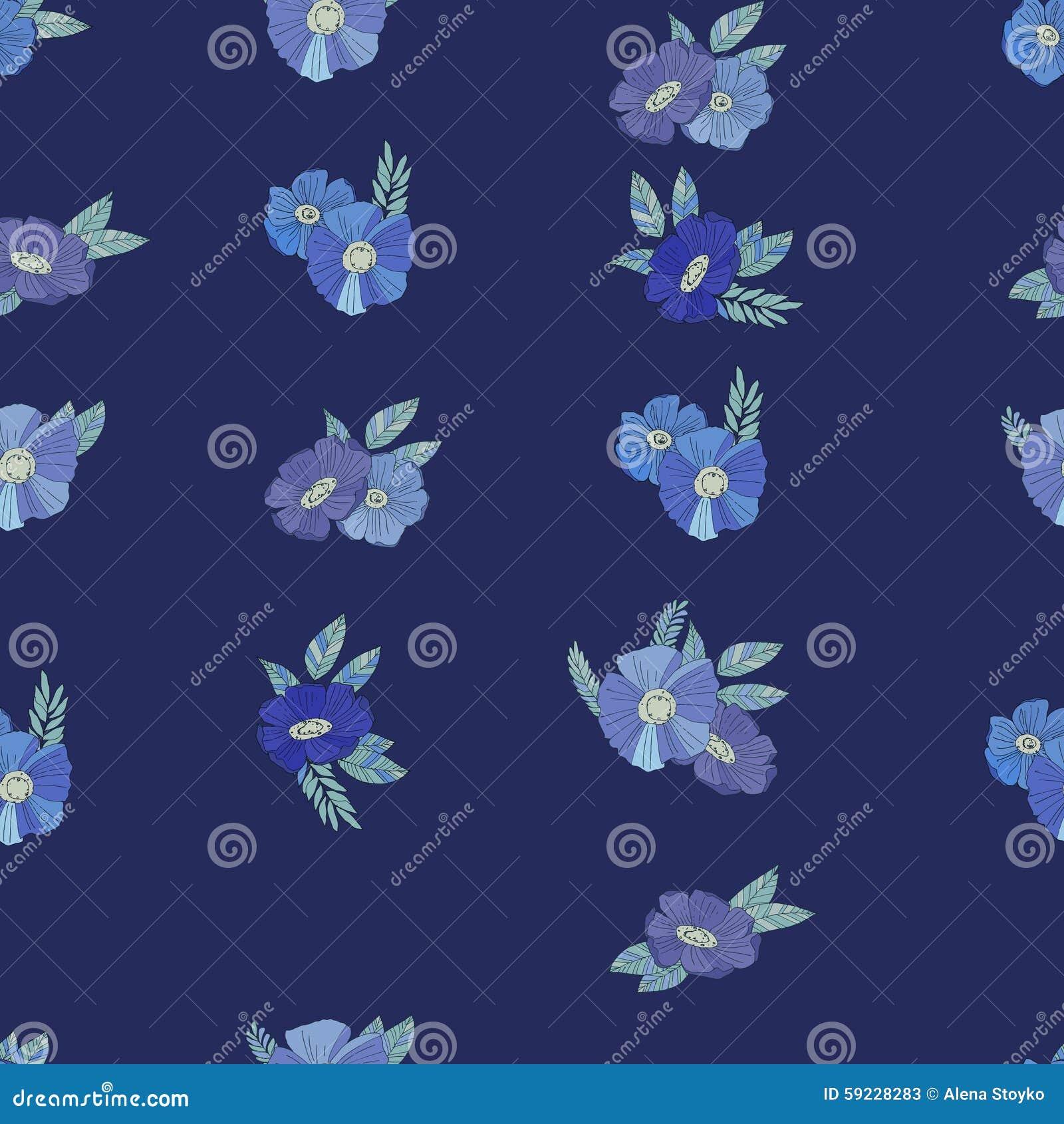 Flores azules en el fondo blanco