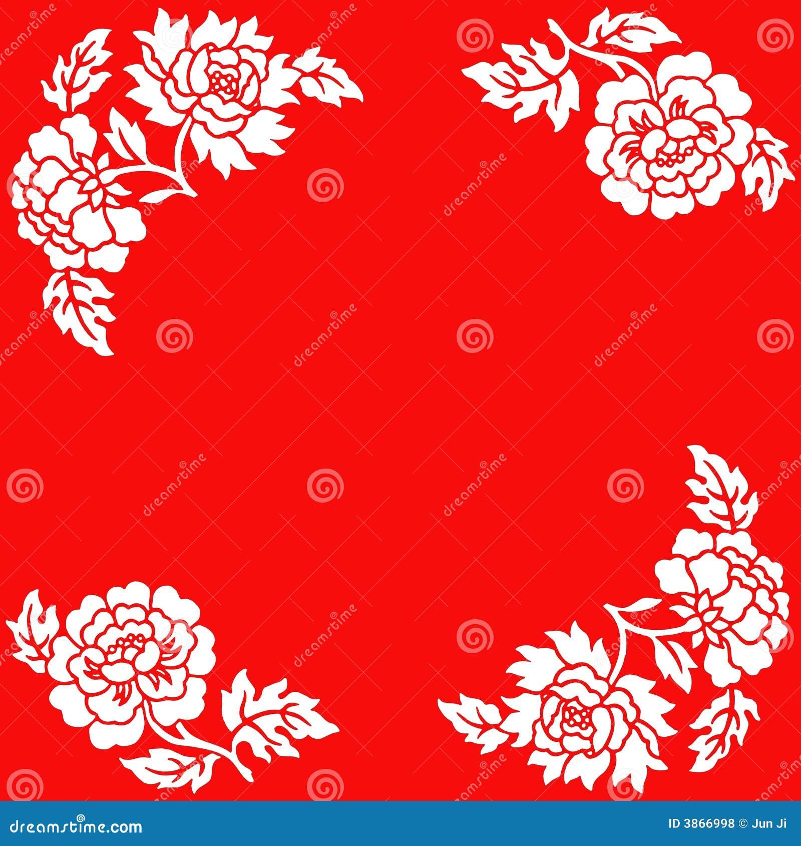 Flores blancas en fondo rojo