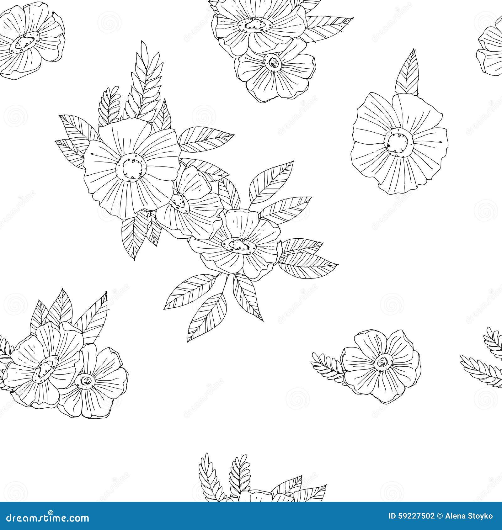 Download Flores Blancos Y Negros En El Fondo Blanco Ilustración del Vector - Ilustración de brote, elegante: 59227502