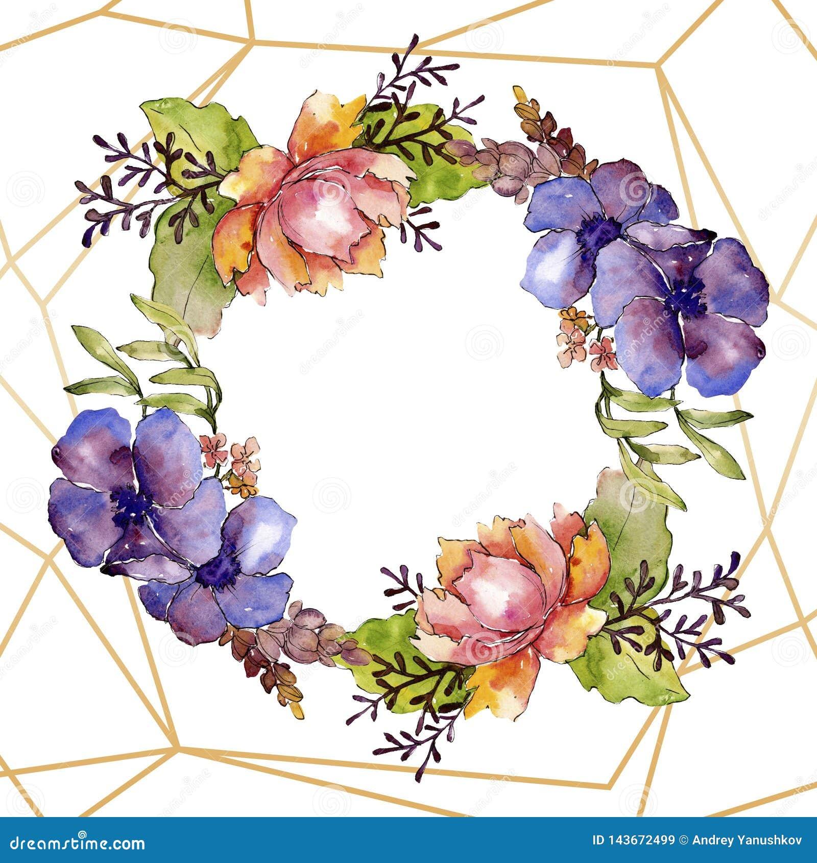 Flores bot?nicas florais do ramalhete roxo azul Grupo da ilustra??o do fundo da aquarela Quadrado do ornamento da beira do quadro