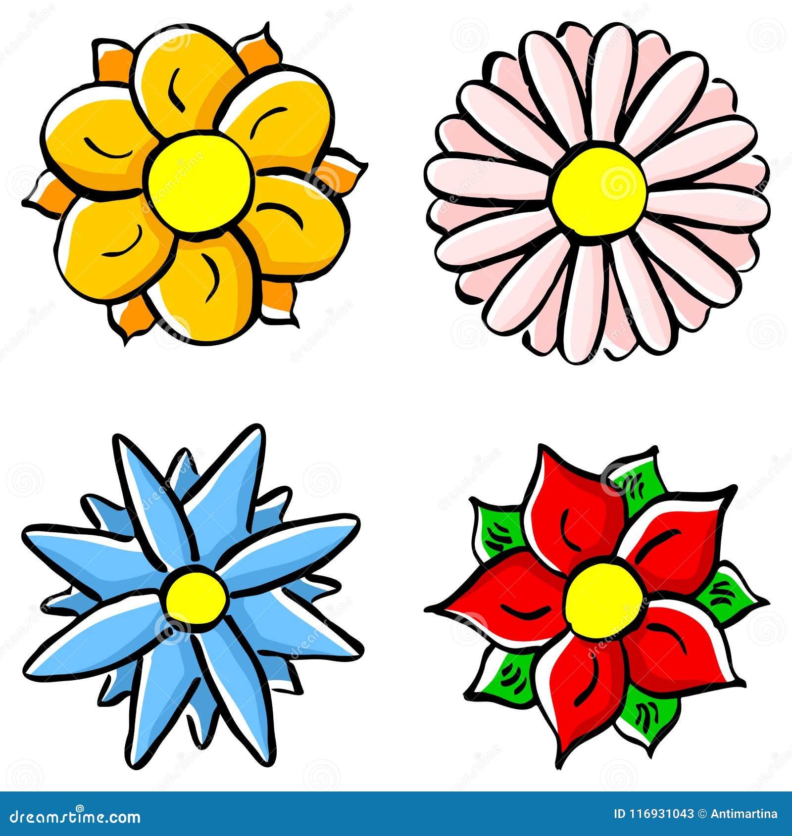 Flores Coloridas Dos Desenhos Animados Ilustracao Do Vetor