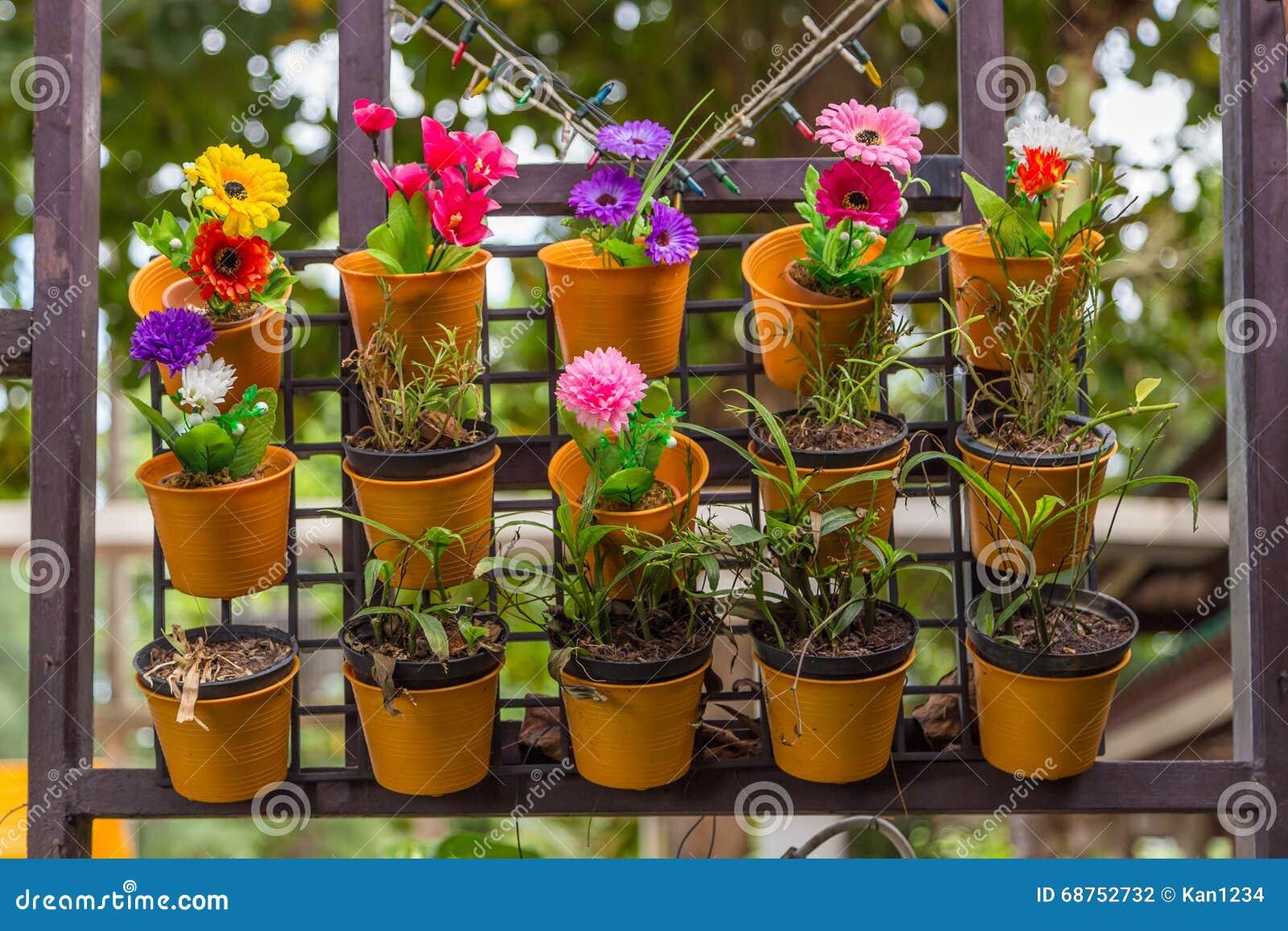 Flores coloridas en macetas de la pared foto de archivo imagen de casa urbano 68752732 - Macetas en la pared ...