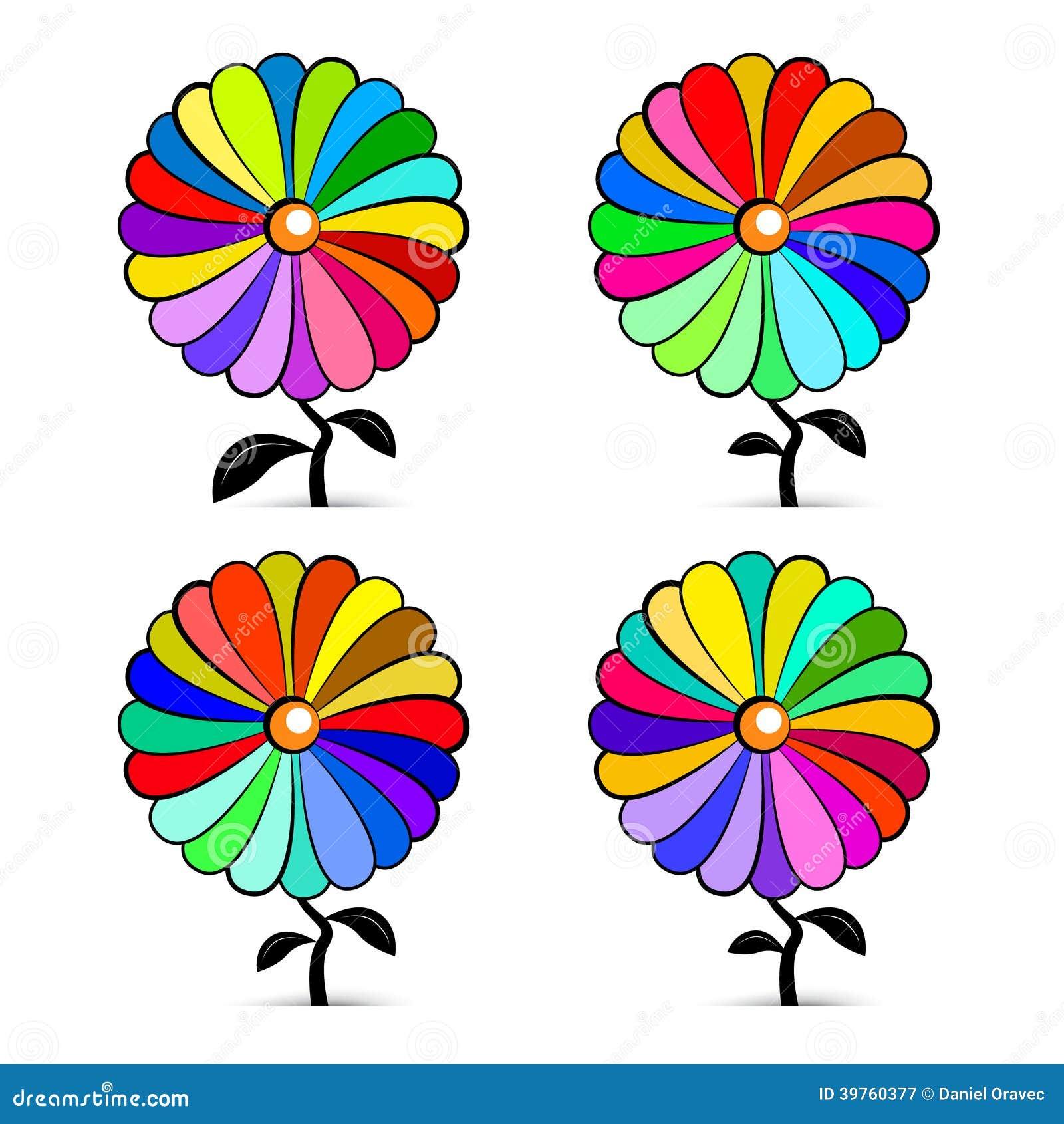 Flores coloridas retras abstractas del vector fijadas