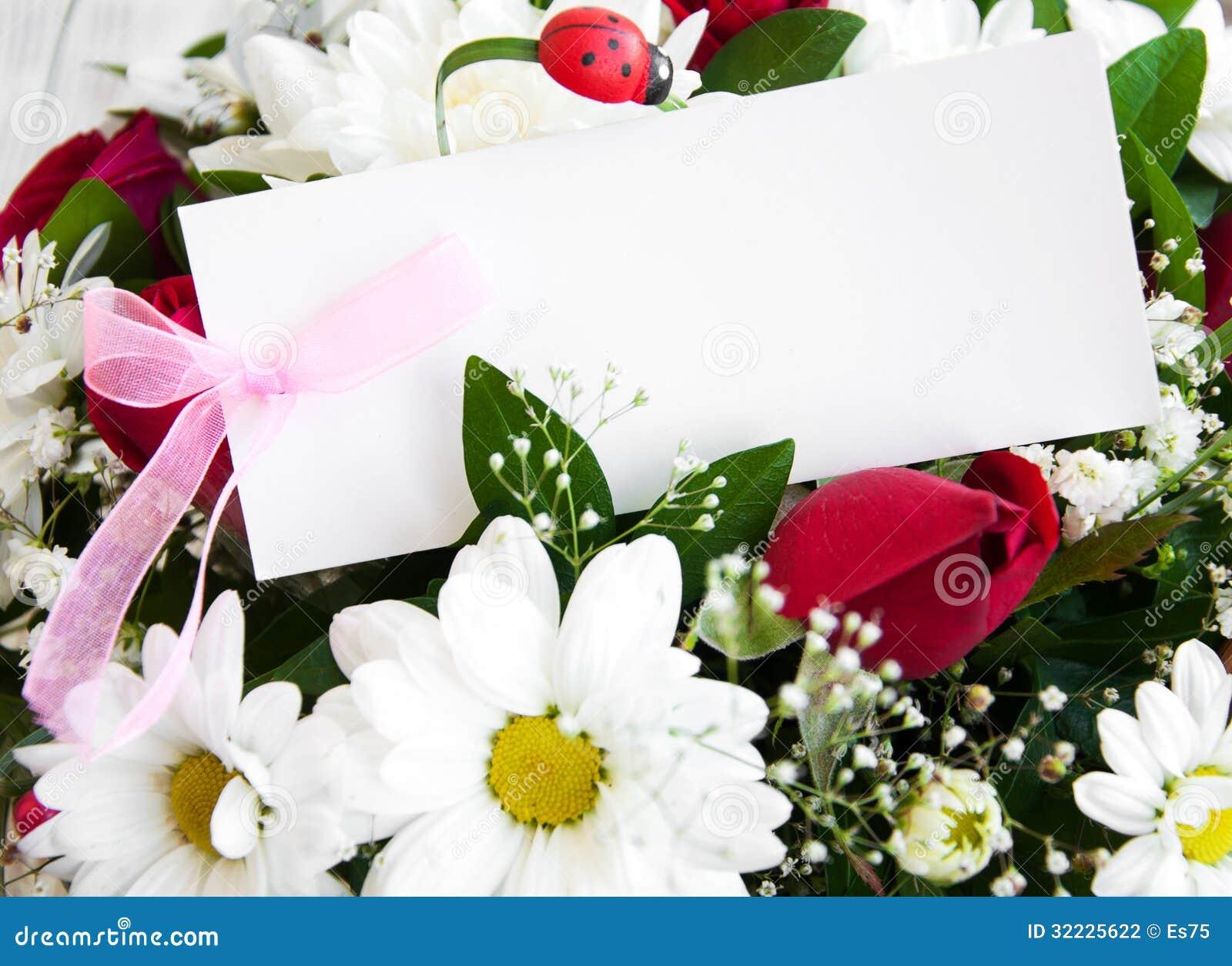 Download Flores Com Um Cartão Branco Foto de Stock - Imagem de chrysanthemum, aniversário: 32225622