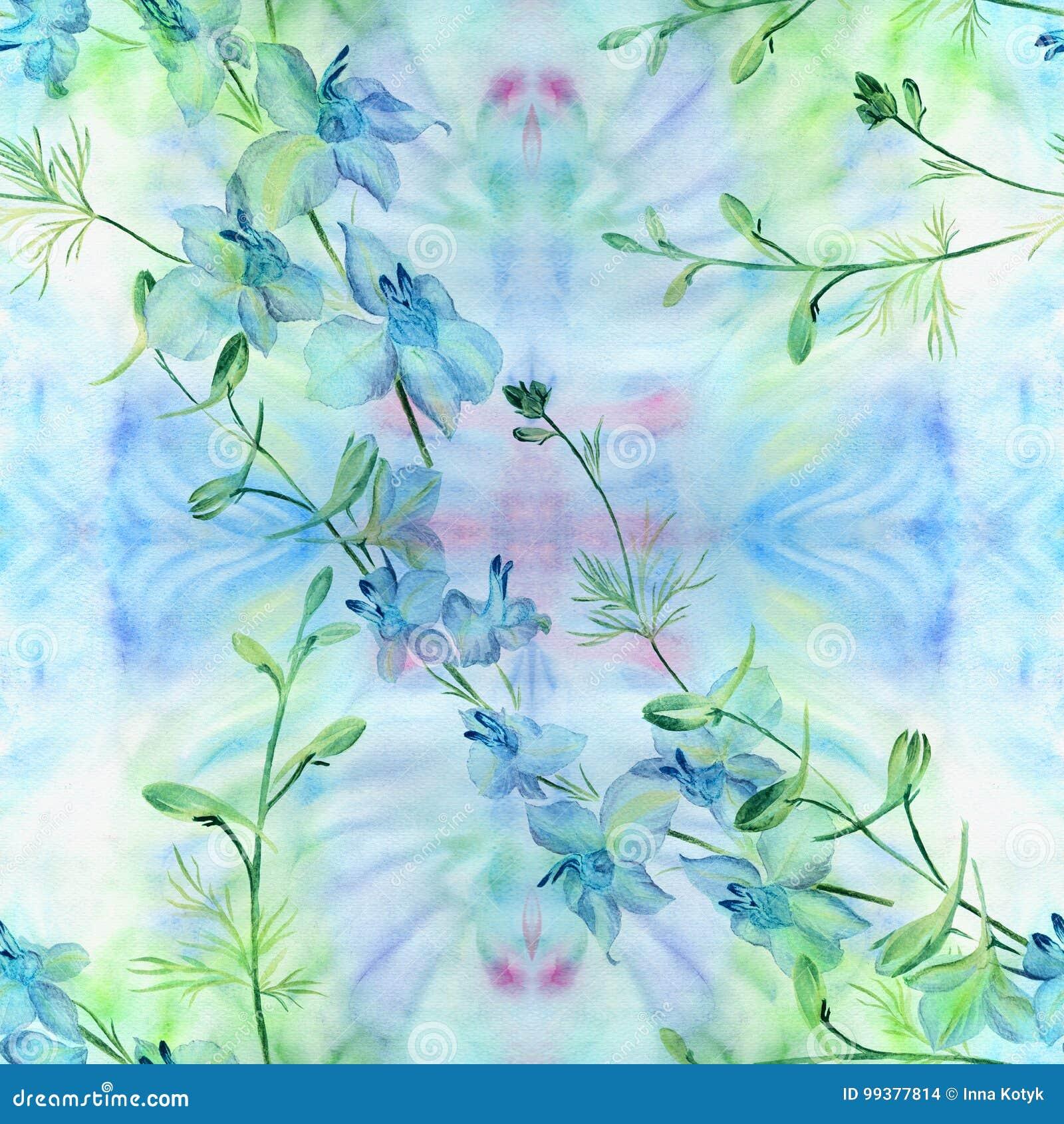 Flores - composição decorativa watercolor Teste padrão sem emenda Use materiais impressos, sinais, artigos, Web site, mapas, cart