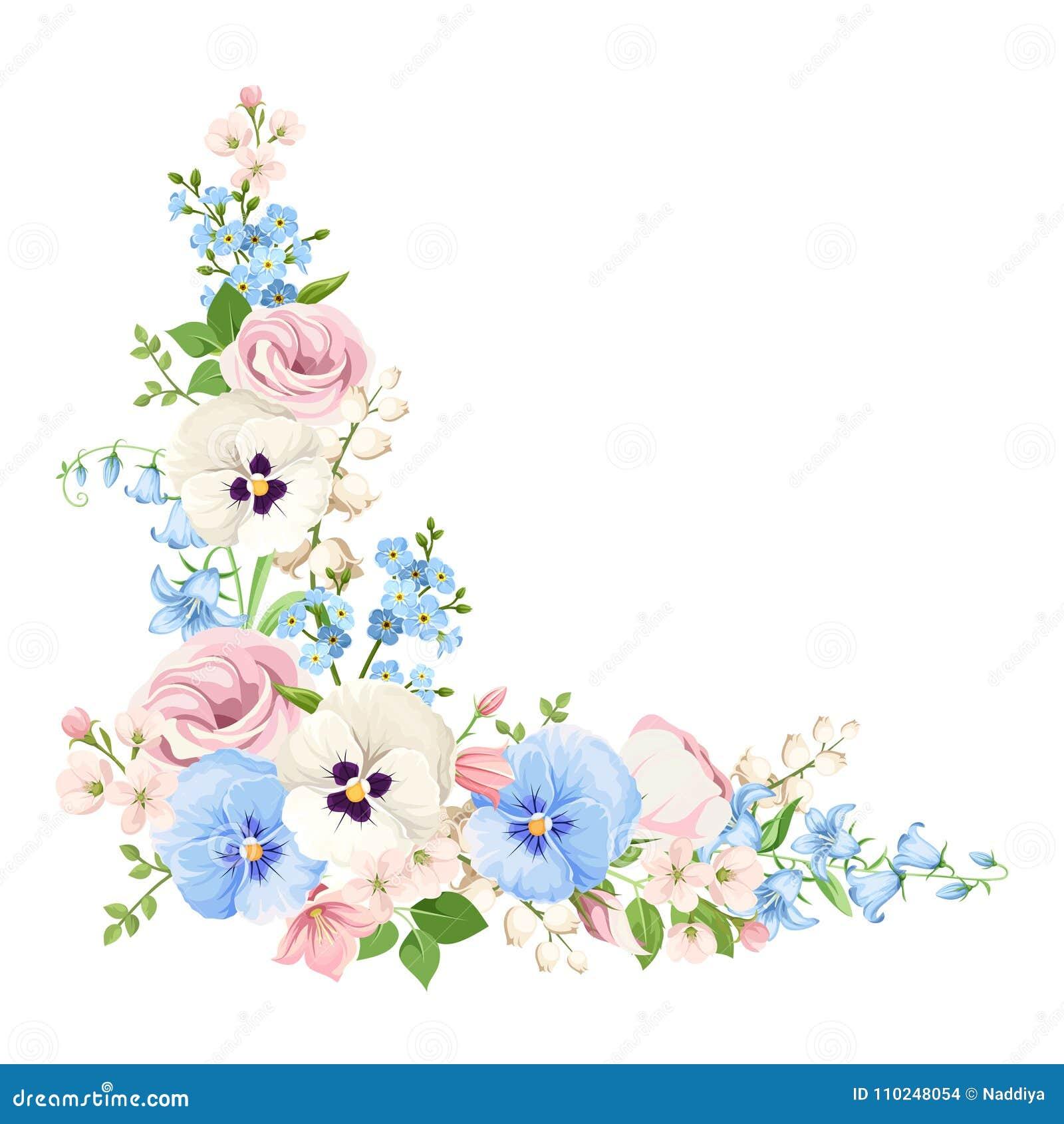 flores cor de rosa azuis e brancas fundo de canto do vetor