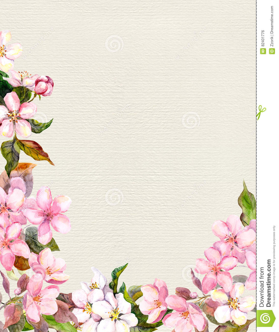 Flores cor de rosa ma flor de cerejeira frame floral for S design photo