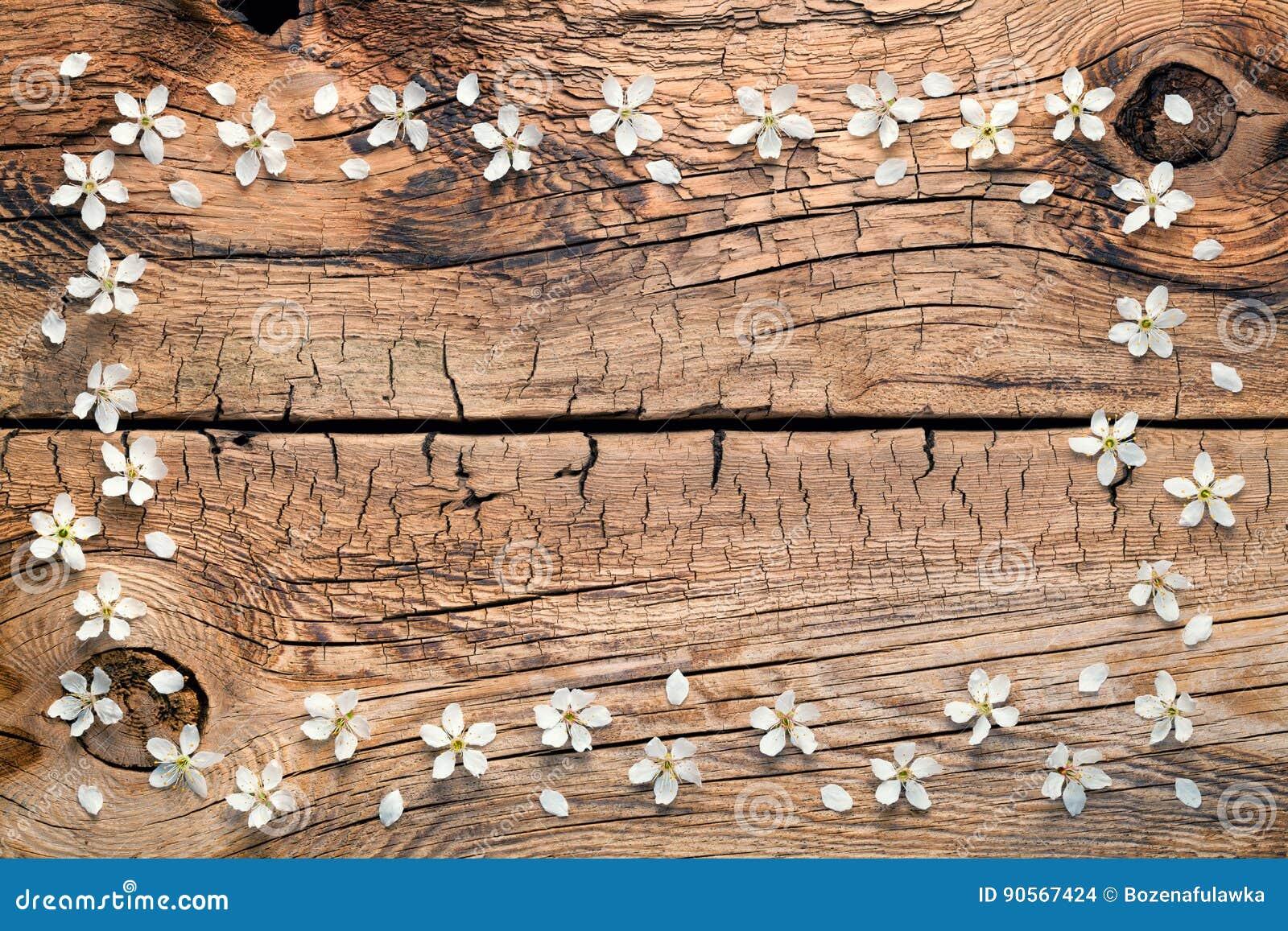 Flores da mola no fundo de madeira