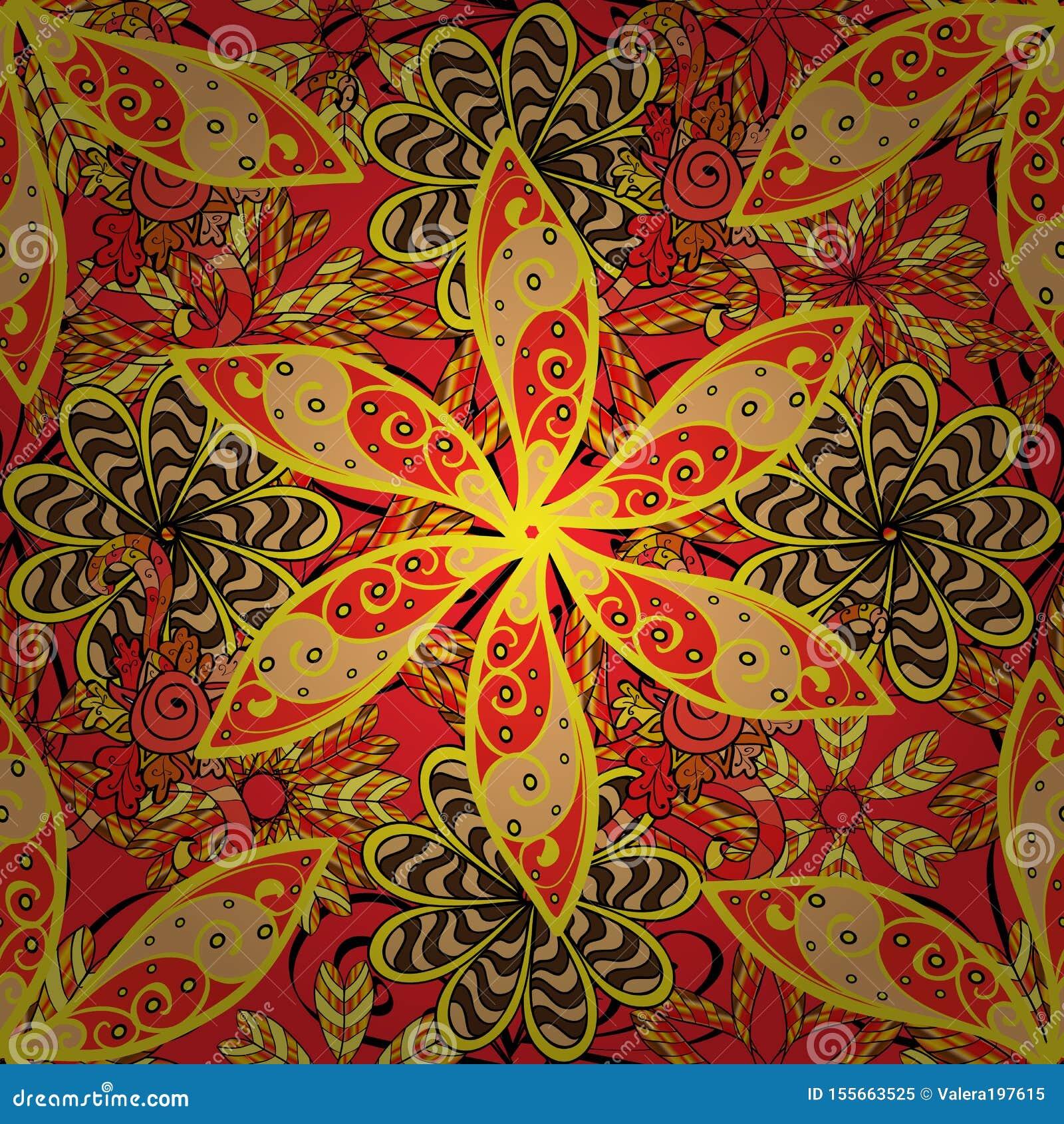 Flores De Color Amarillo Rojo Y Beige Stock De Ilustración Ilustración De Rojo Flores 155663525
