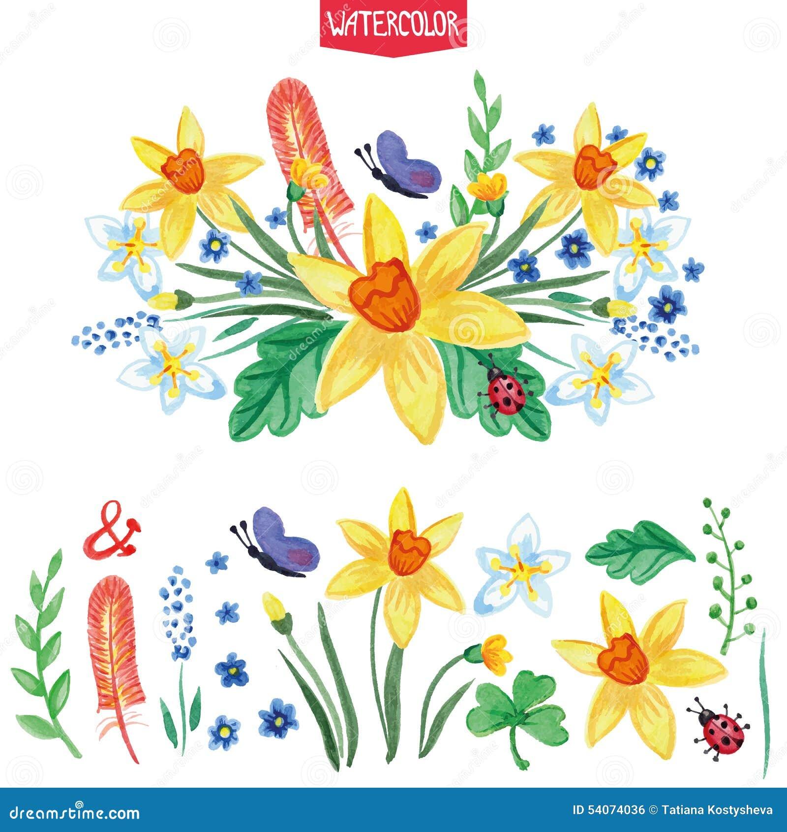 Flores De La Acuarela Ramas Verdes Fijadas Verano Ilustracion Del