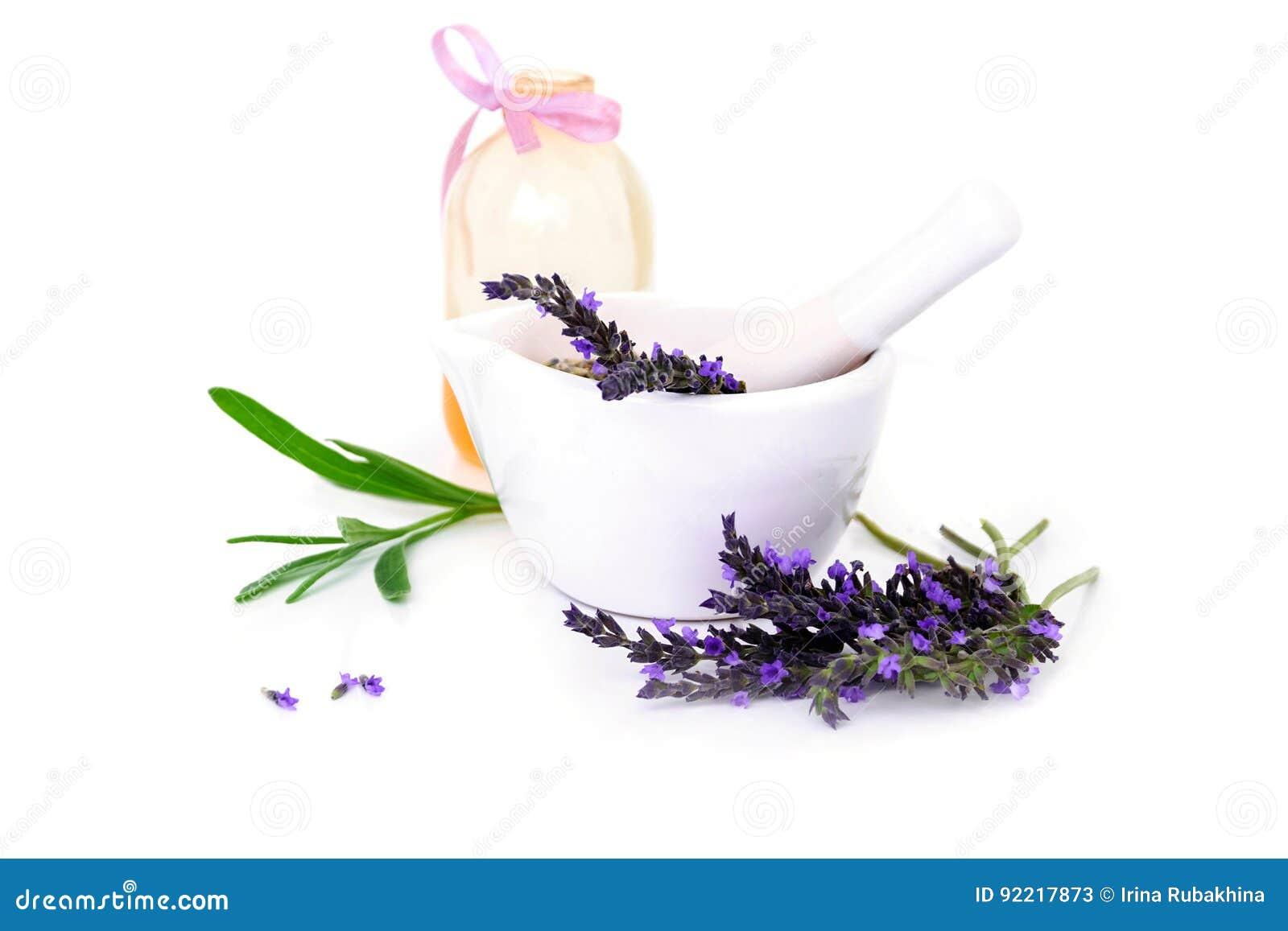Flores de la lavanda, aceite del lavander y montar con las flores secas aisladas en blanco