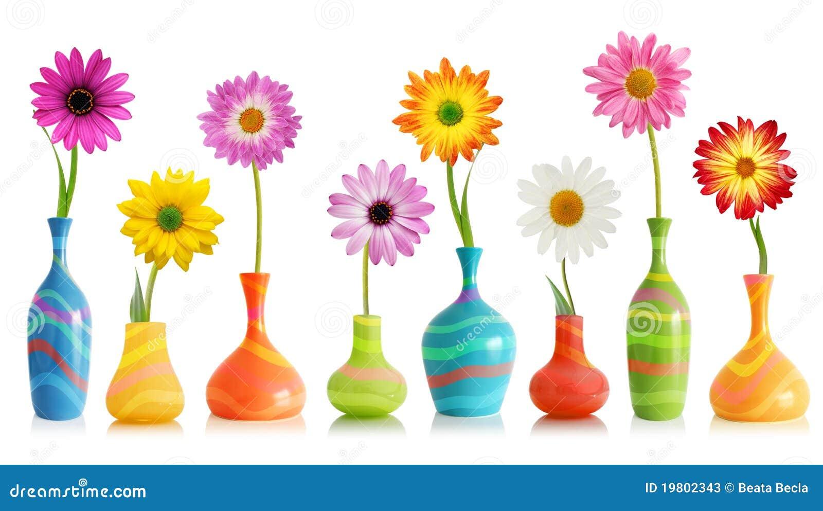 Flores de la margarita en floreros