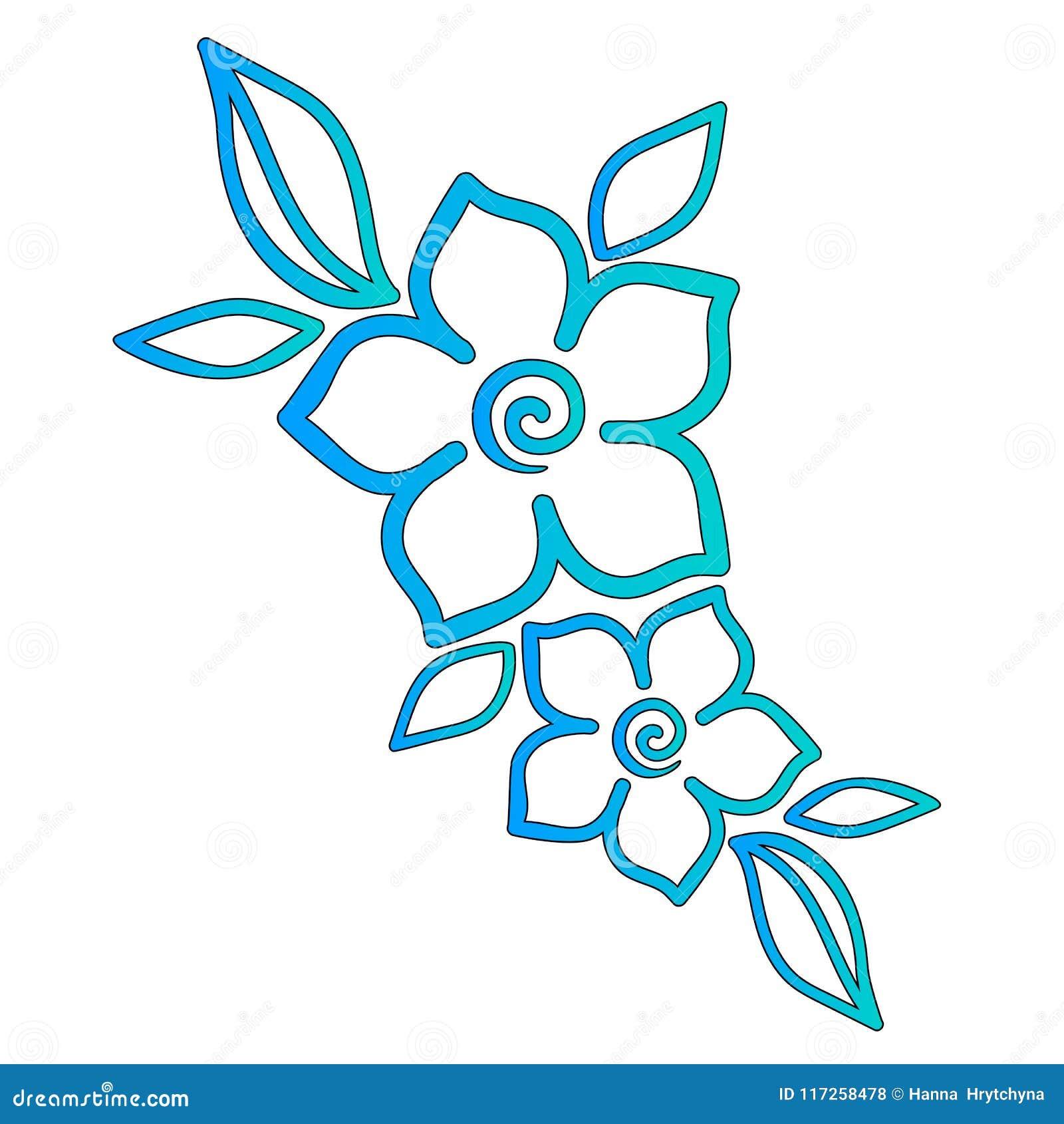 Flores De La Turquesa Con Las Hojas Estampado De Plores Plantilla