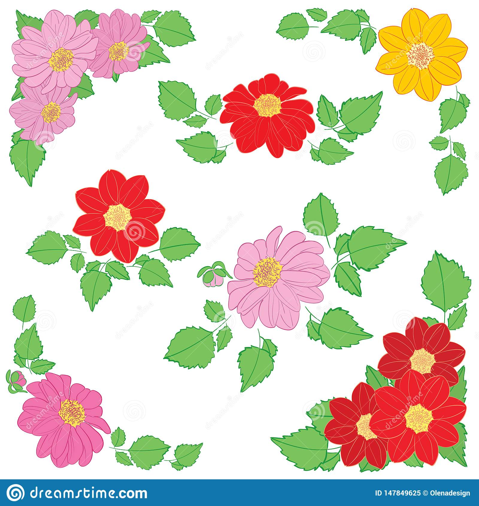 Flores De Las Dalias Con Las Hojas Verdes Como Decoraciones