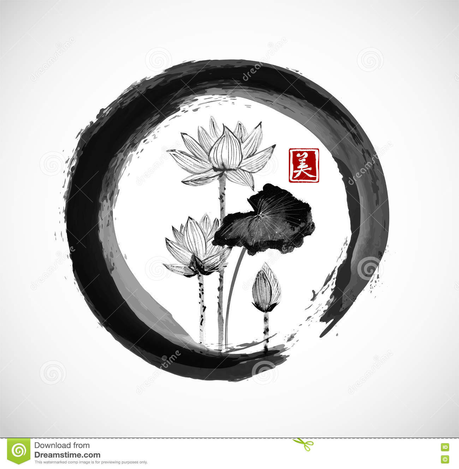 Flores De Lotus En C 237 Rculo Negro Del Zen Del Enso