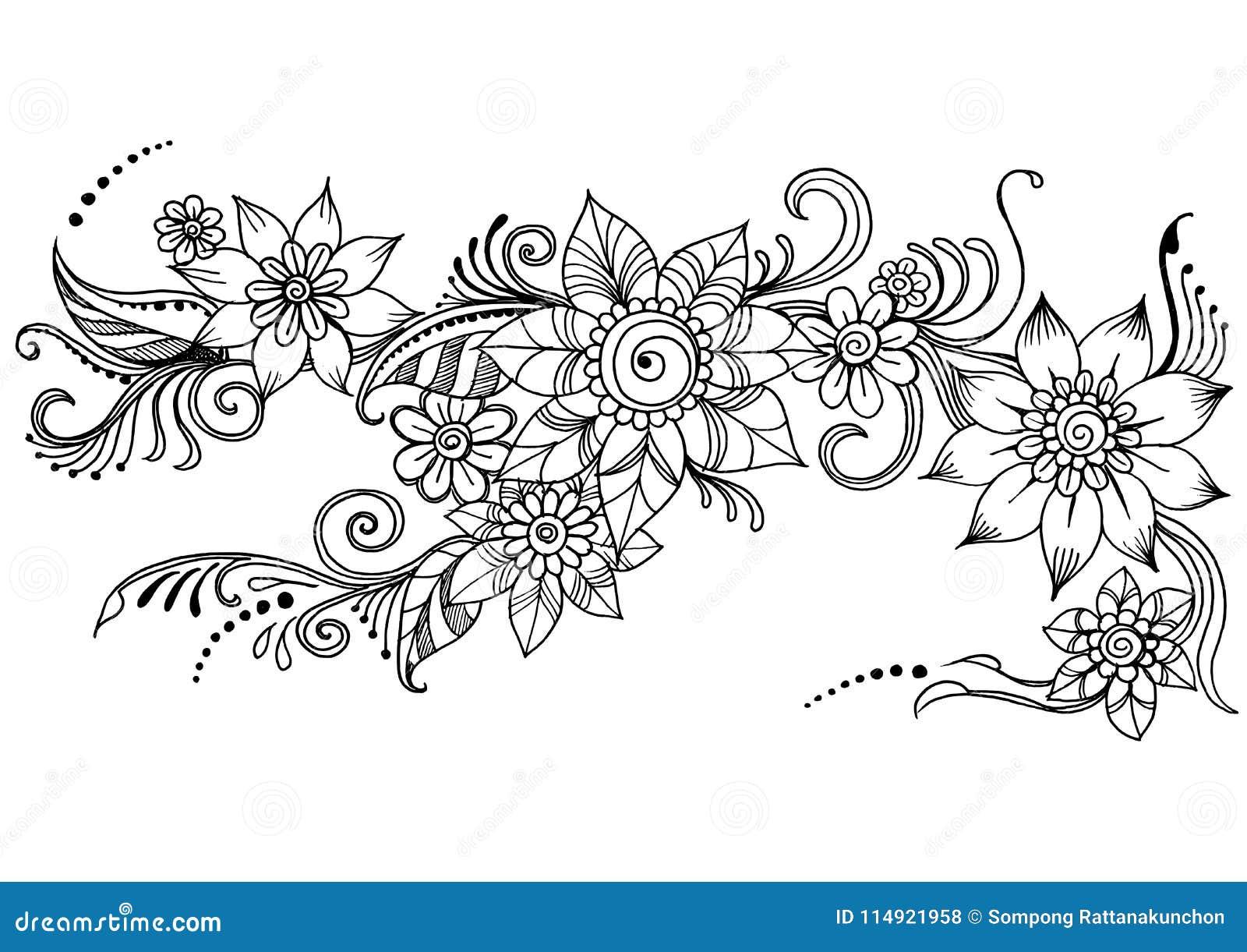 Flores Del Arte Del Garabato Flor Del Extracto De Zentangle