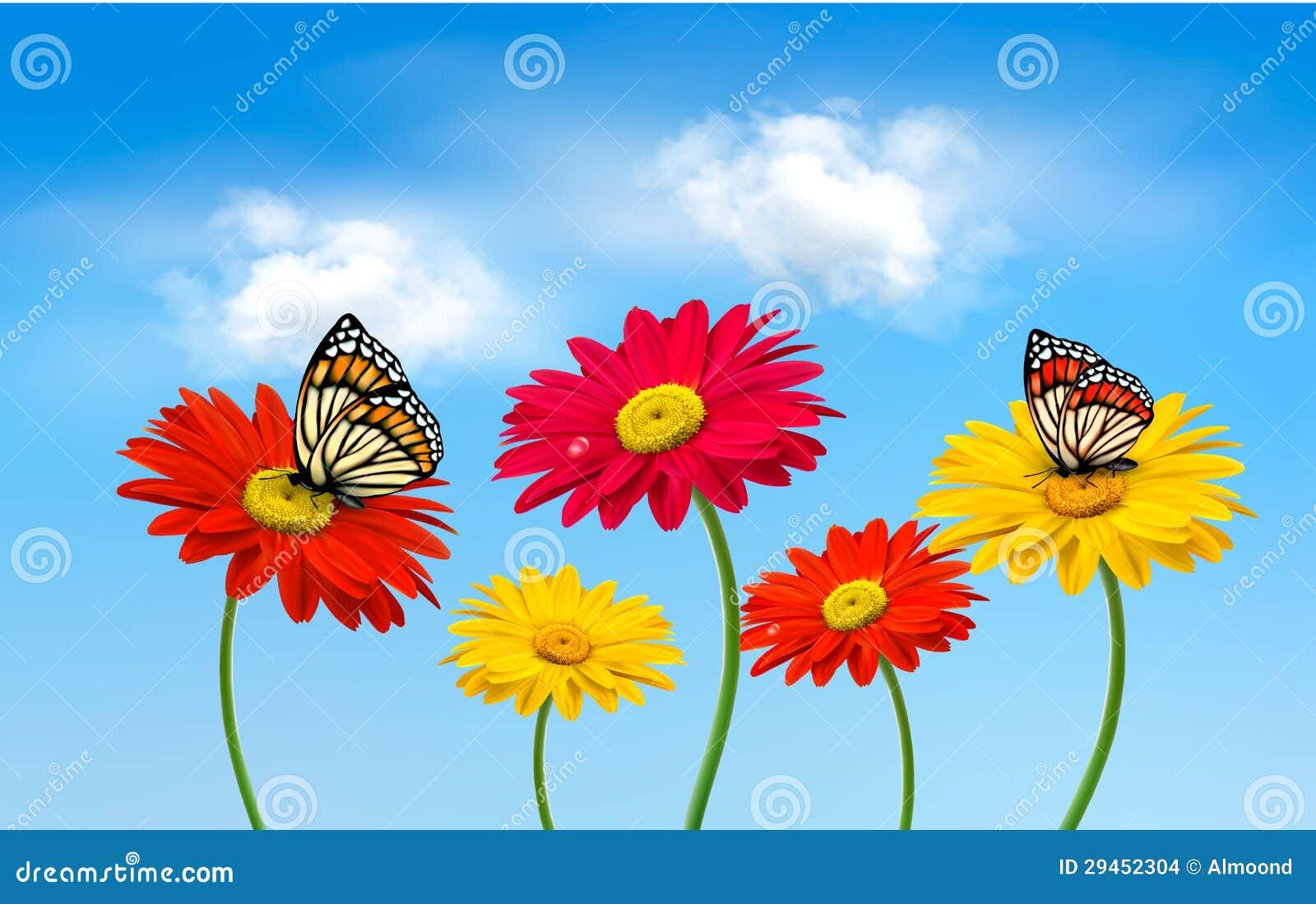 Flores del gerber de la primavera de la naturaleza con las - Plantas de temporada primavera ...