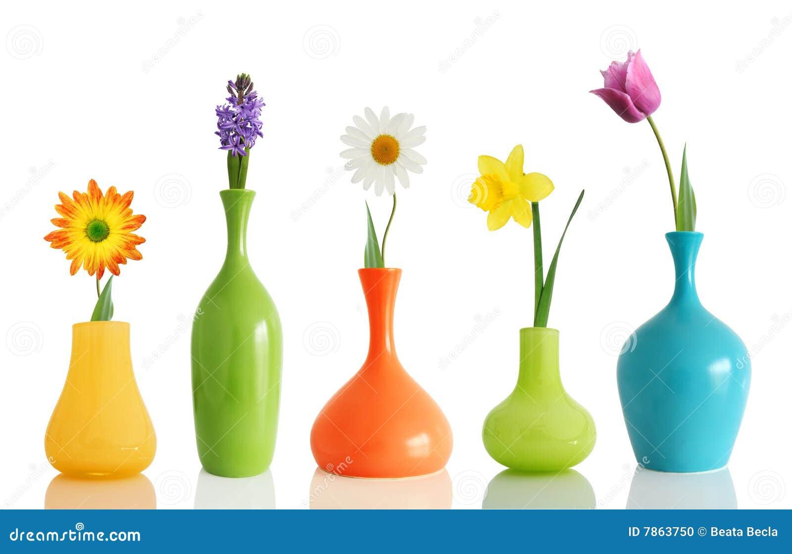 Flores del resorte en floreros