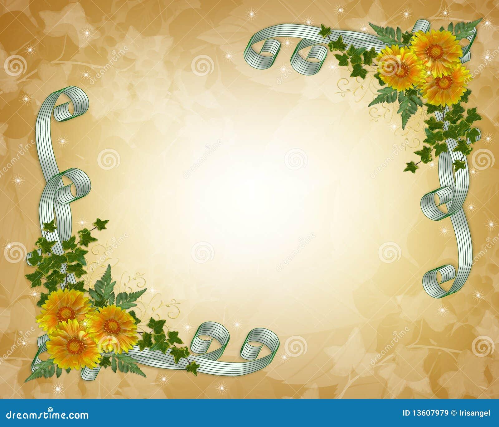 Flores Do Amarelo Do Convite Do Casamento Imagens De Stock