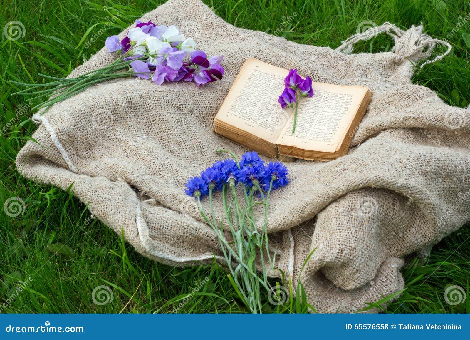 Flores do jardim e um livro