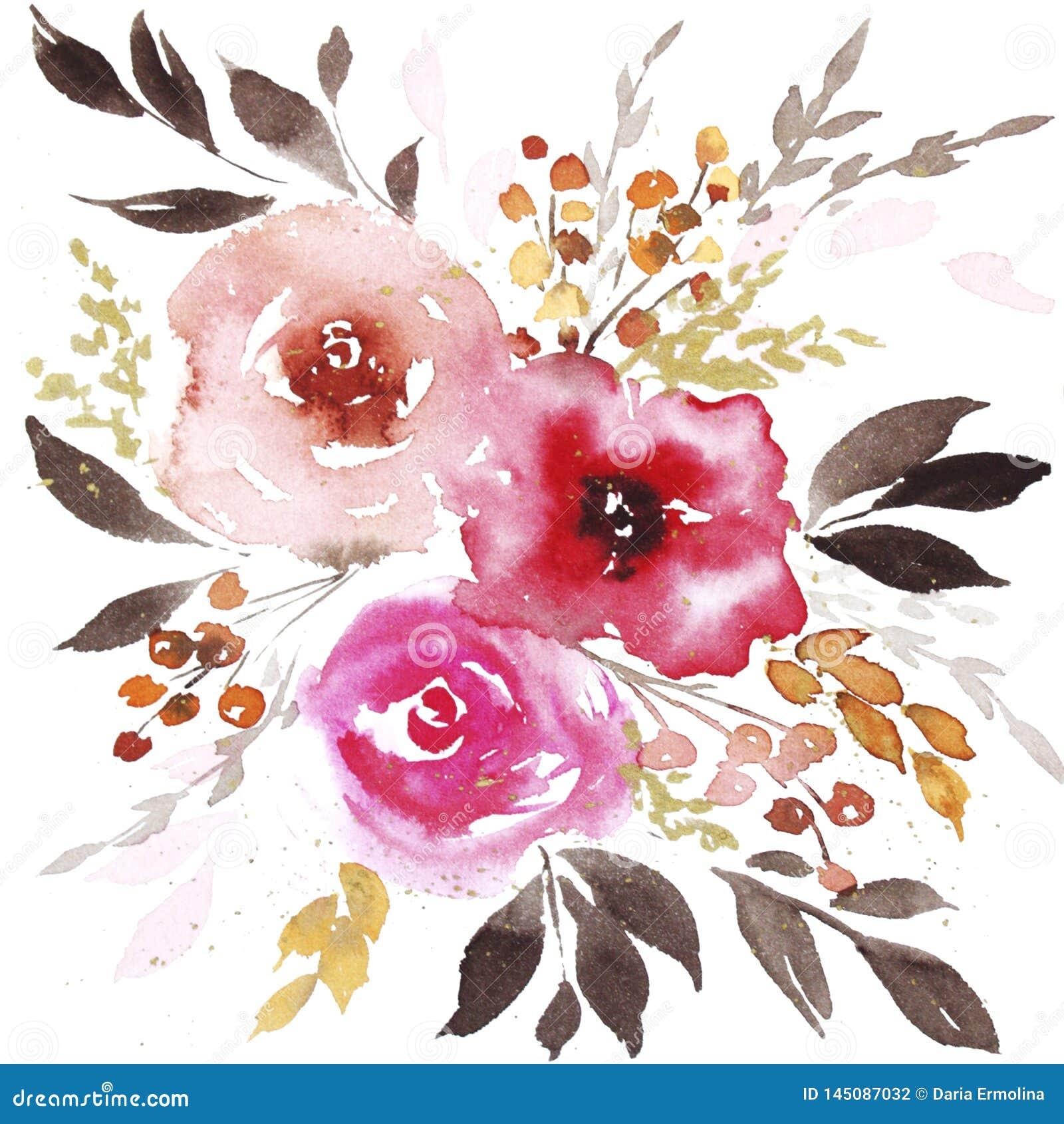 Flores do sum?rio da aquarela da mola