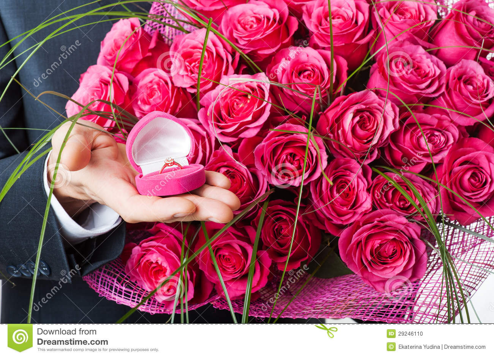 Download Flores E Anel Na Caixa Cor-de-rosa Foto de Stock - Imagem de encantador, retrato: 29246110