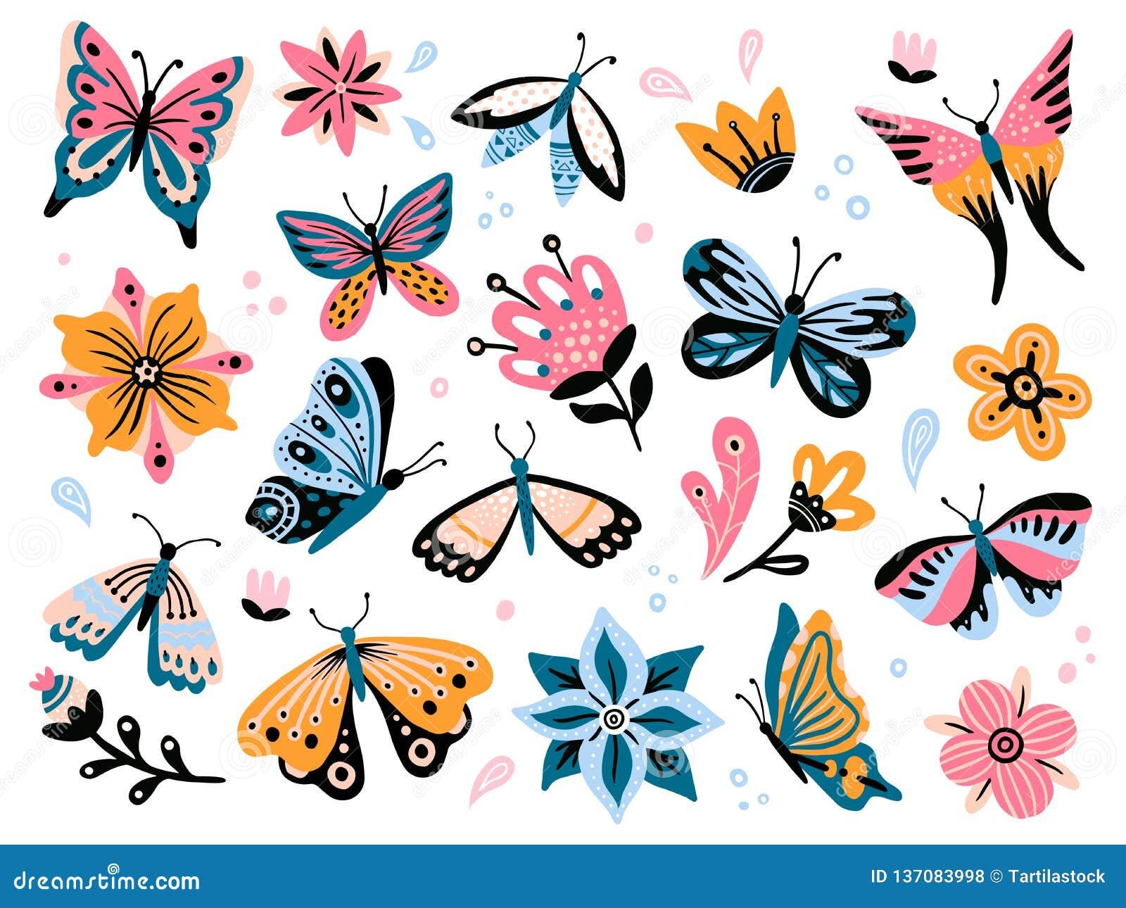 Flores e borboletas da mola A flor colorida do jardim, a decoração floral e o vetor isolado butterfy elegante ajustaram-se