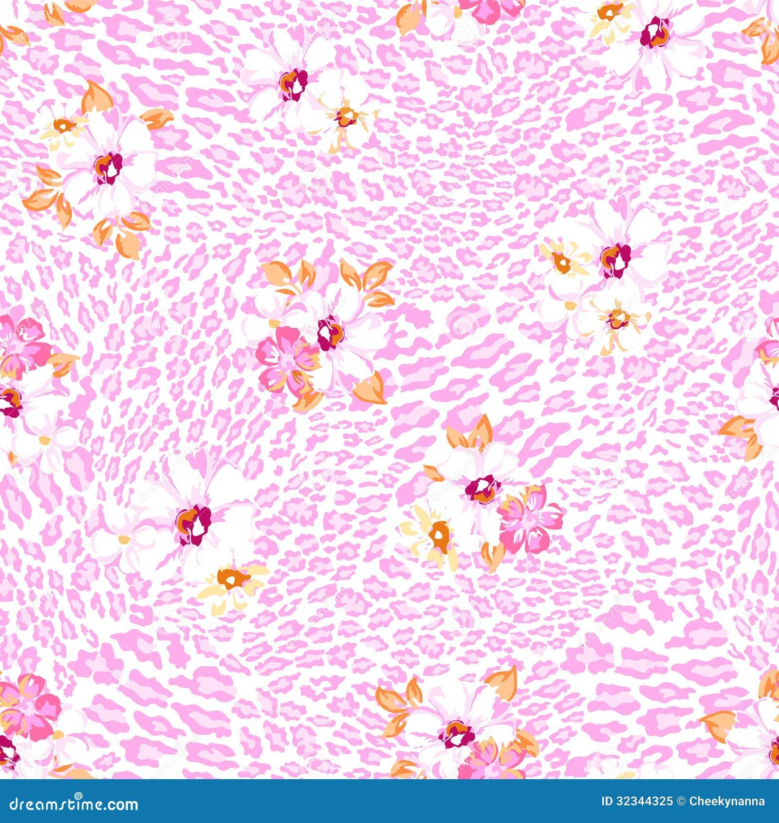 Flores En Colores Pastel Sobre El Fondo Animal Ilustración Del